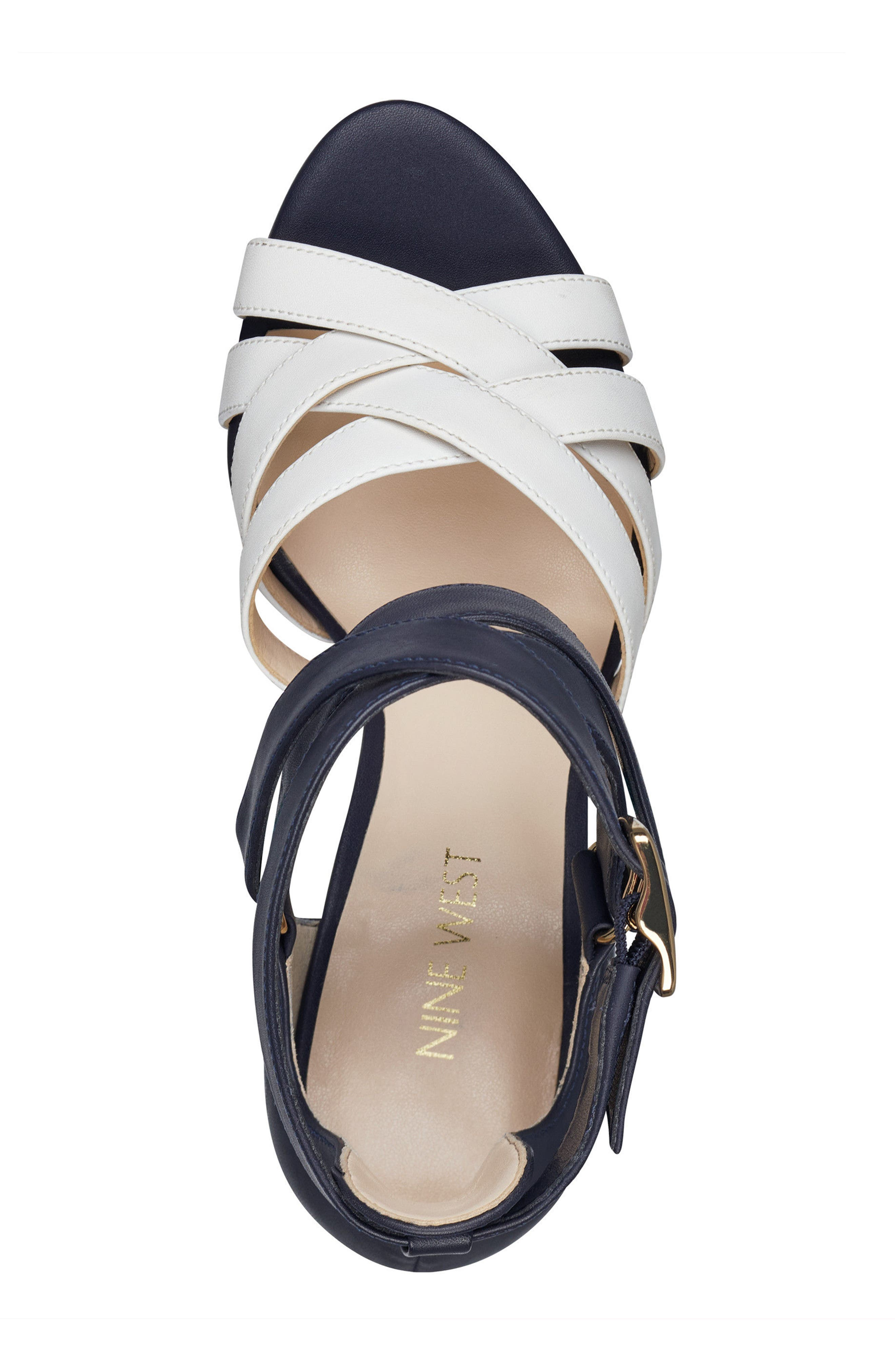McGlynn Strappy Sandal,                             Alternate thumbnail 5, color,                             Navy/ White Leather