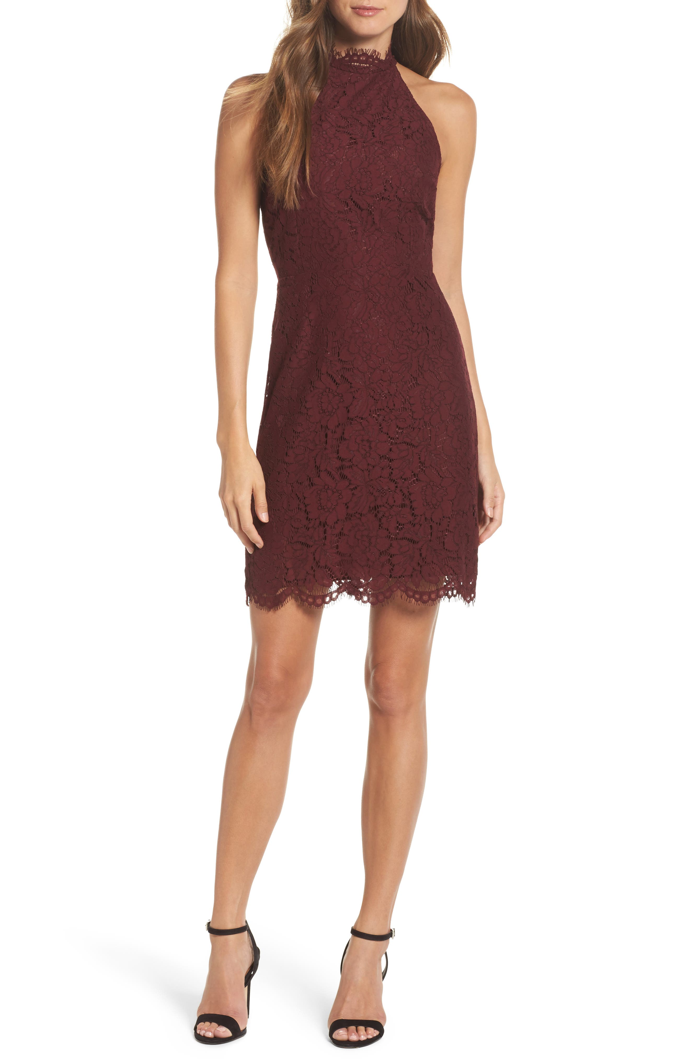 'Cara' High Neck Lace Dress,                         Main,                         color, Burgundy