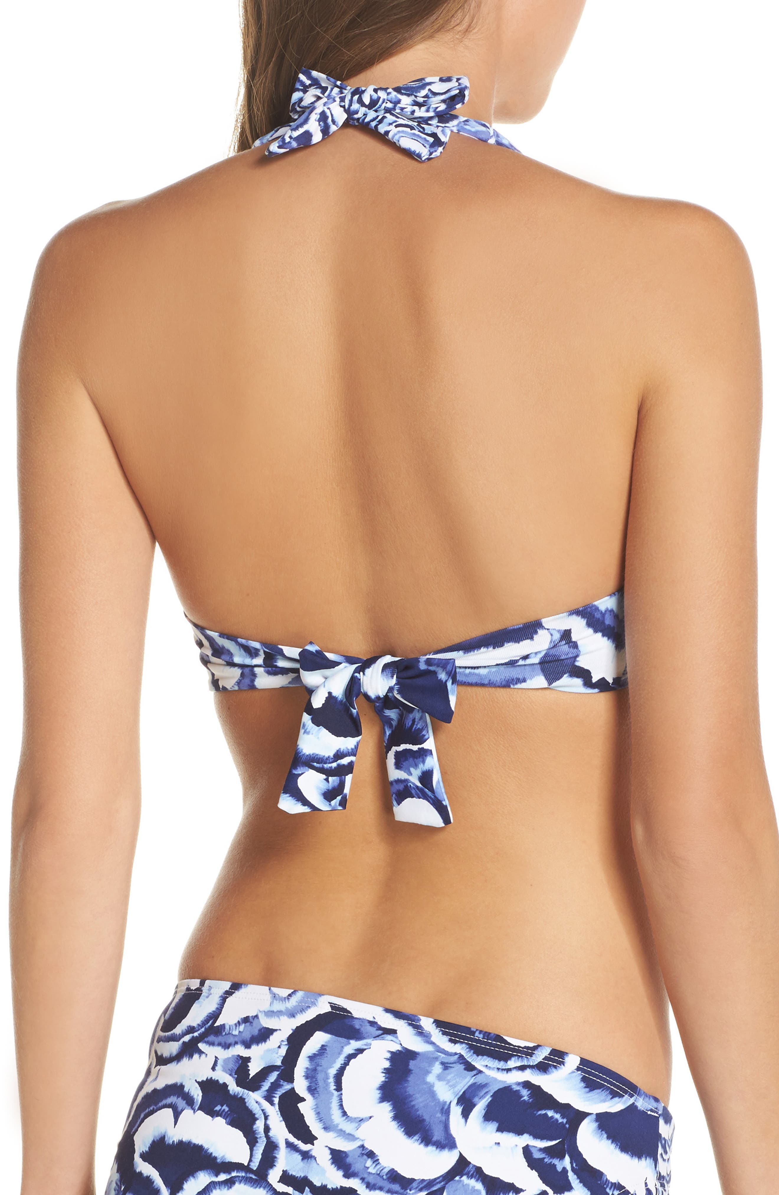 Pansy Petals Halter Bikini Top,                             Alternate thumbnail 2, color,                             White