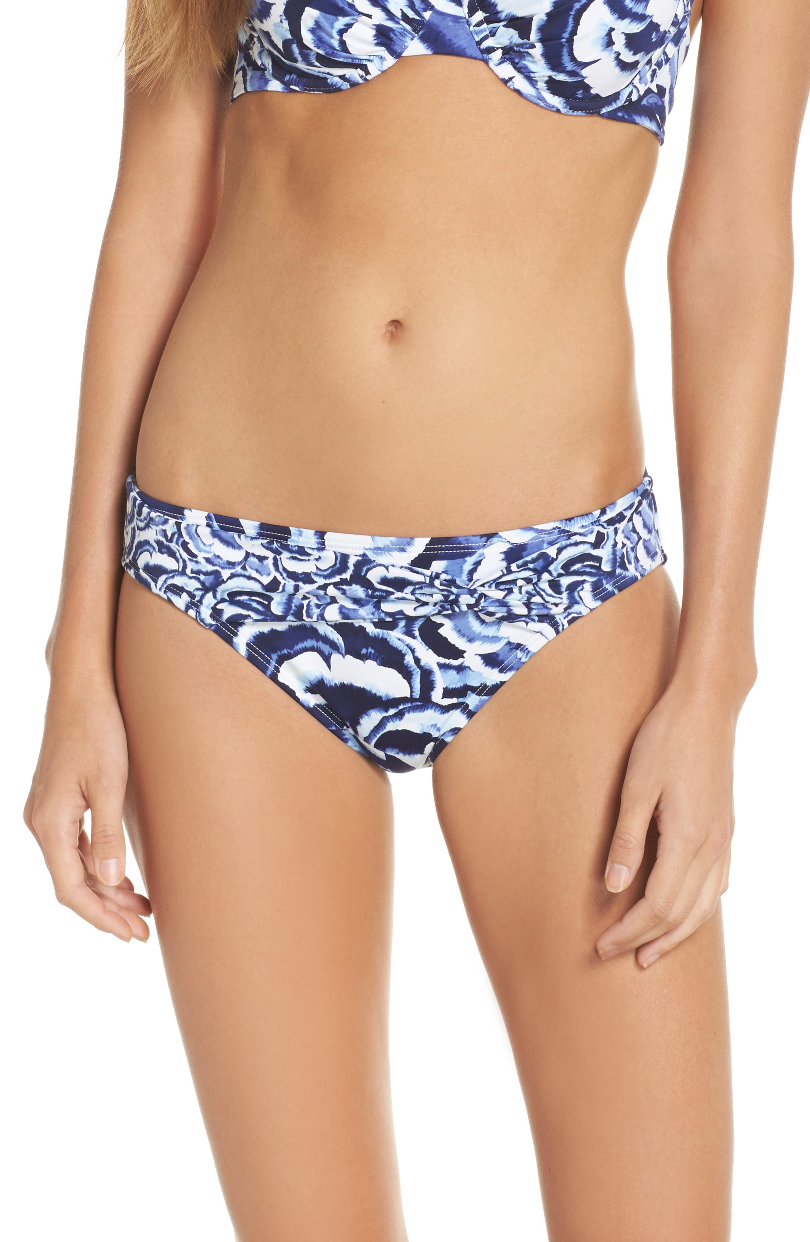 Pansy Twist Front Bikini Bottoms,                         Main,                         color, White