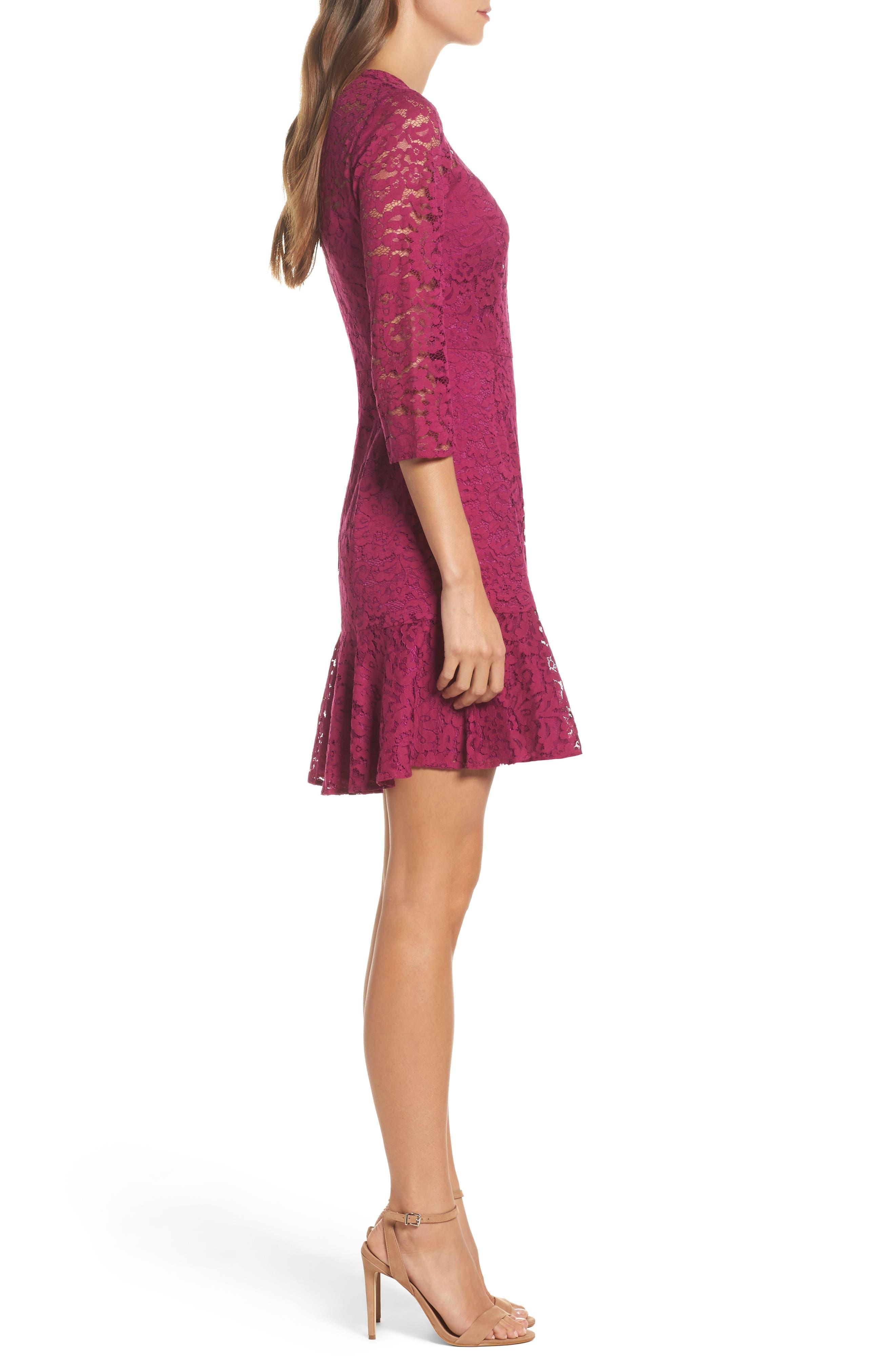 Stanley Lace Fit & Flare Dress,                             Alternate thumbnail 3, color,                             Dewberry