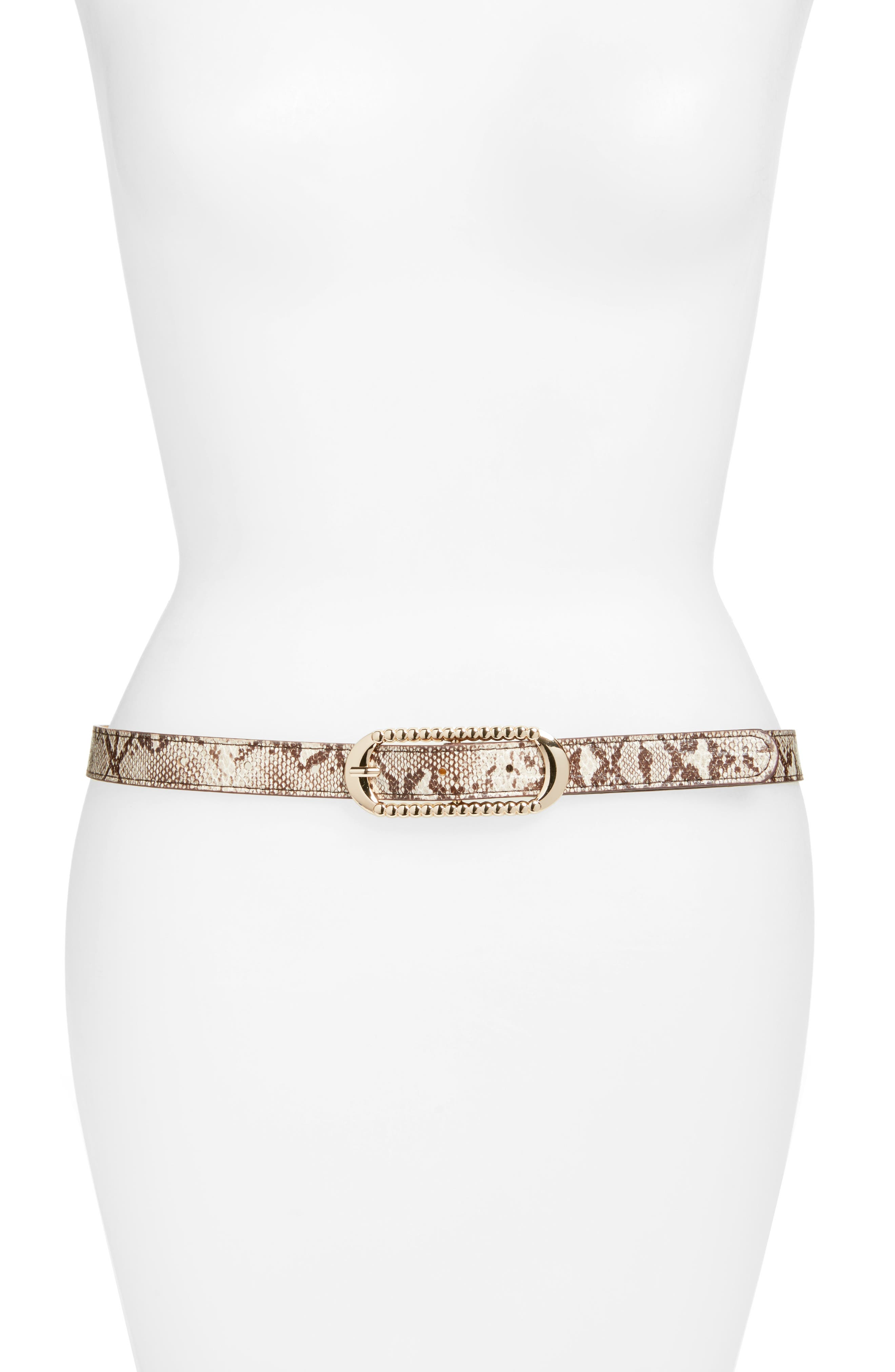 Lola Snake Embossed Faux Leather Skinny Belt,                             Main thumbnail 1, color,                             Tan