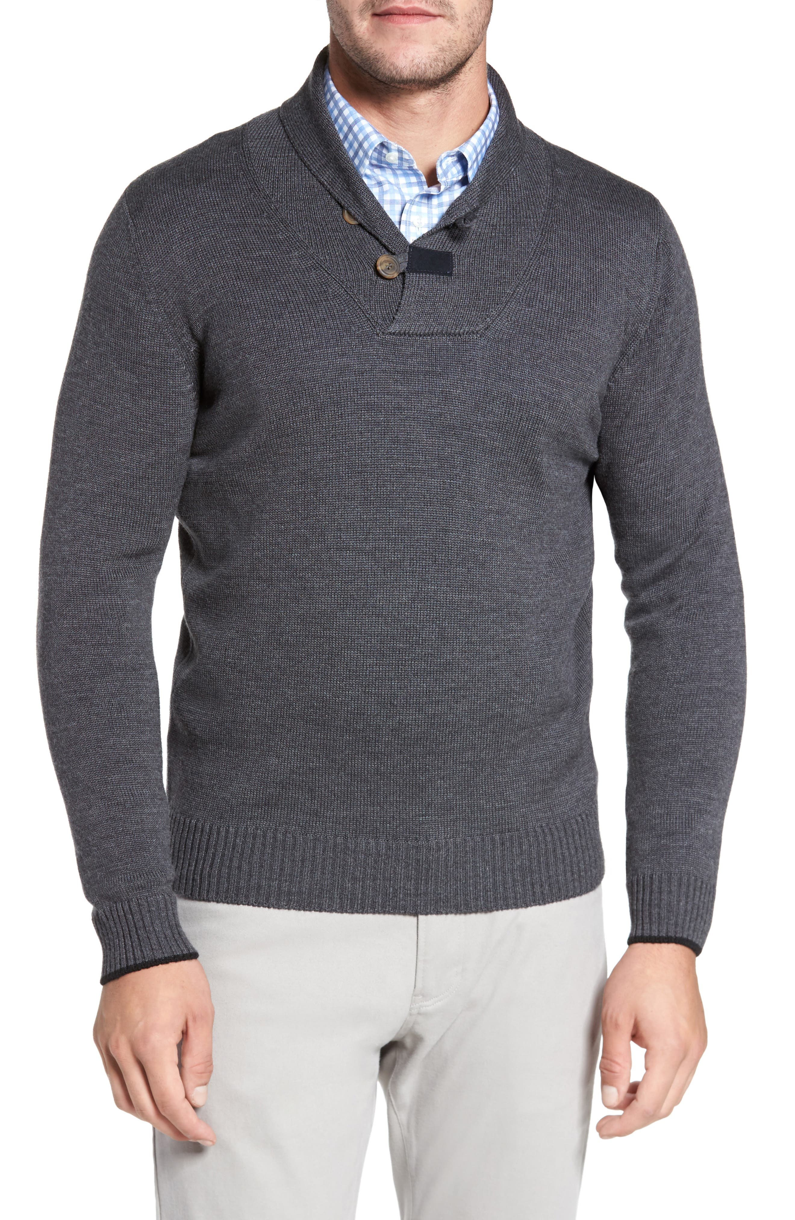 Main Image - David Donahue Merino Wool Shawl Collar Pullover