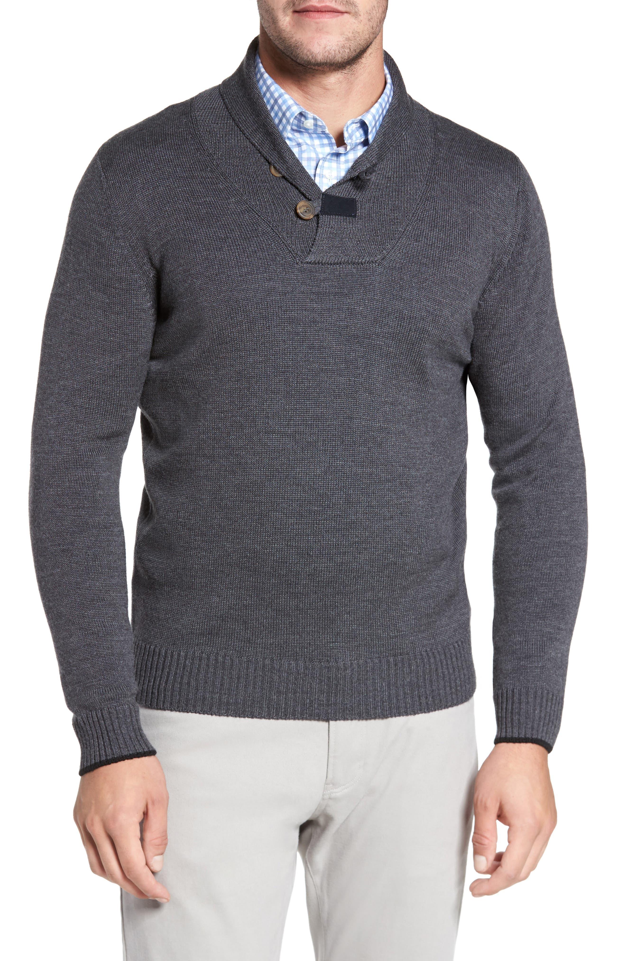 Merino Wool Shawl Collar Pullover,                         Main,                         color, Charcoal