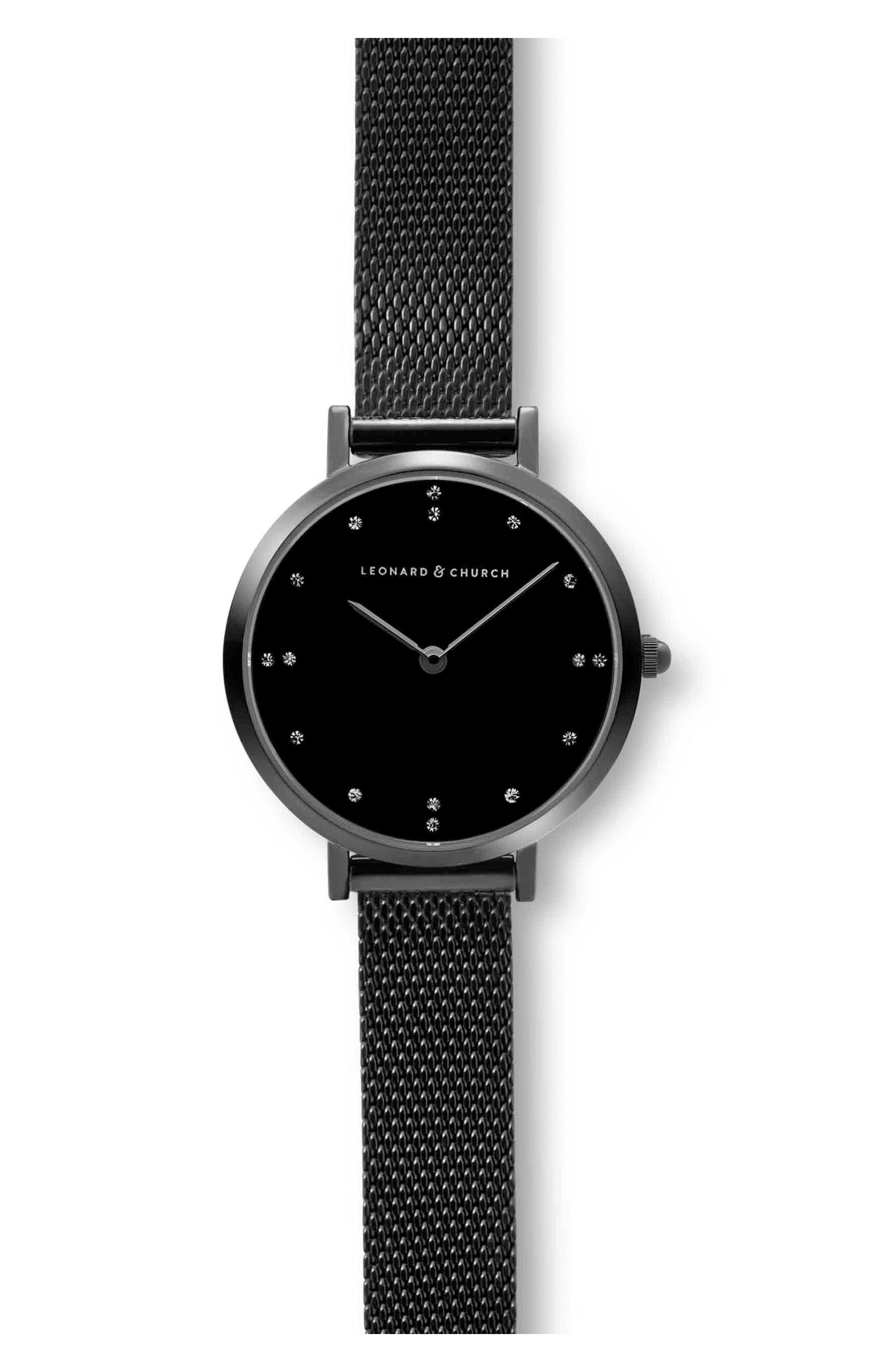 Leonard & Church Mercer Mesh Strap Watch, 30mm,                             Alternate thumbnail 2, color,                             Black