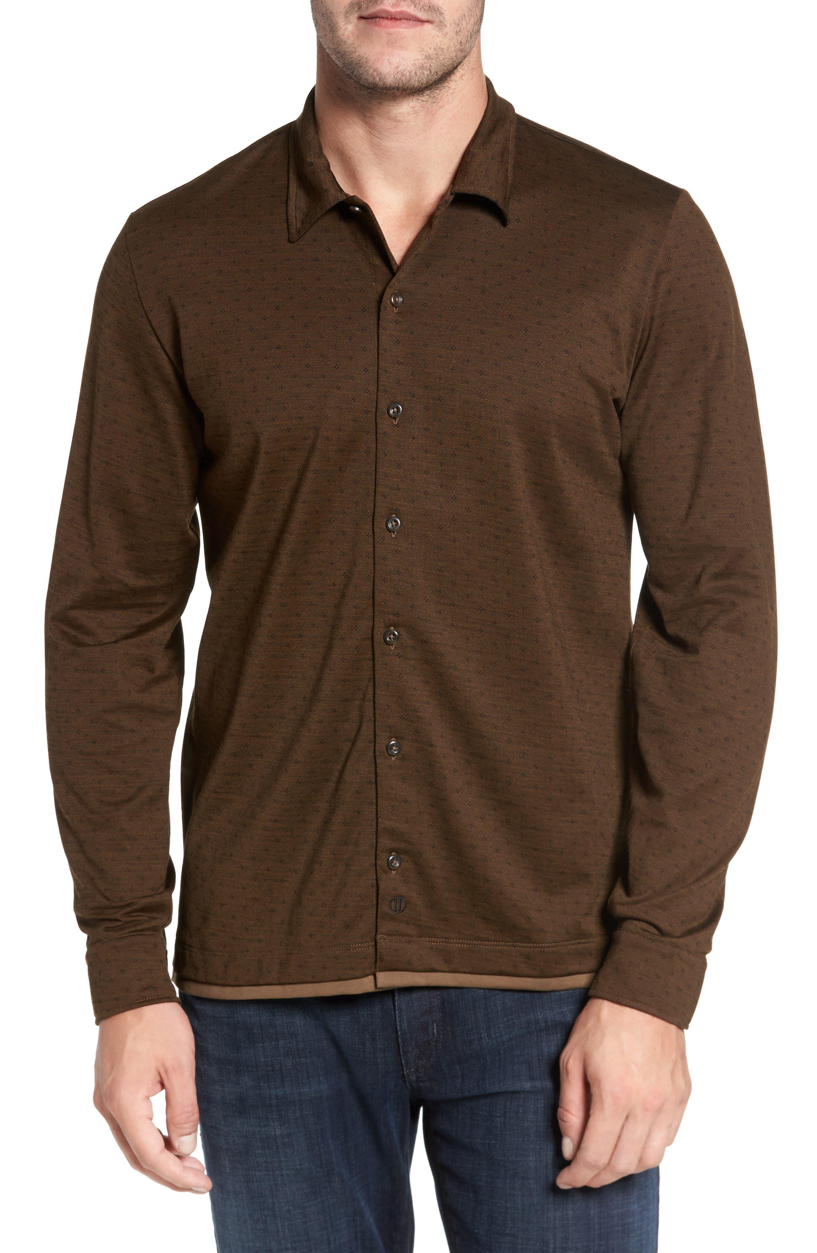 Alternate Image 1 Selected - David Donahue Jacquard Knit Sport Shirt