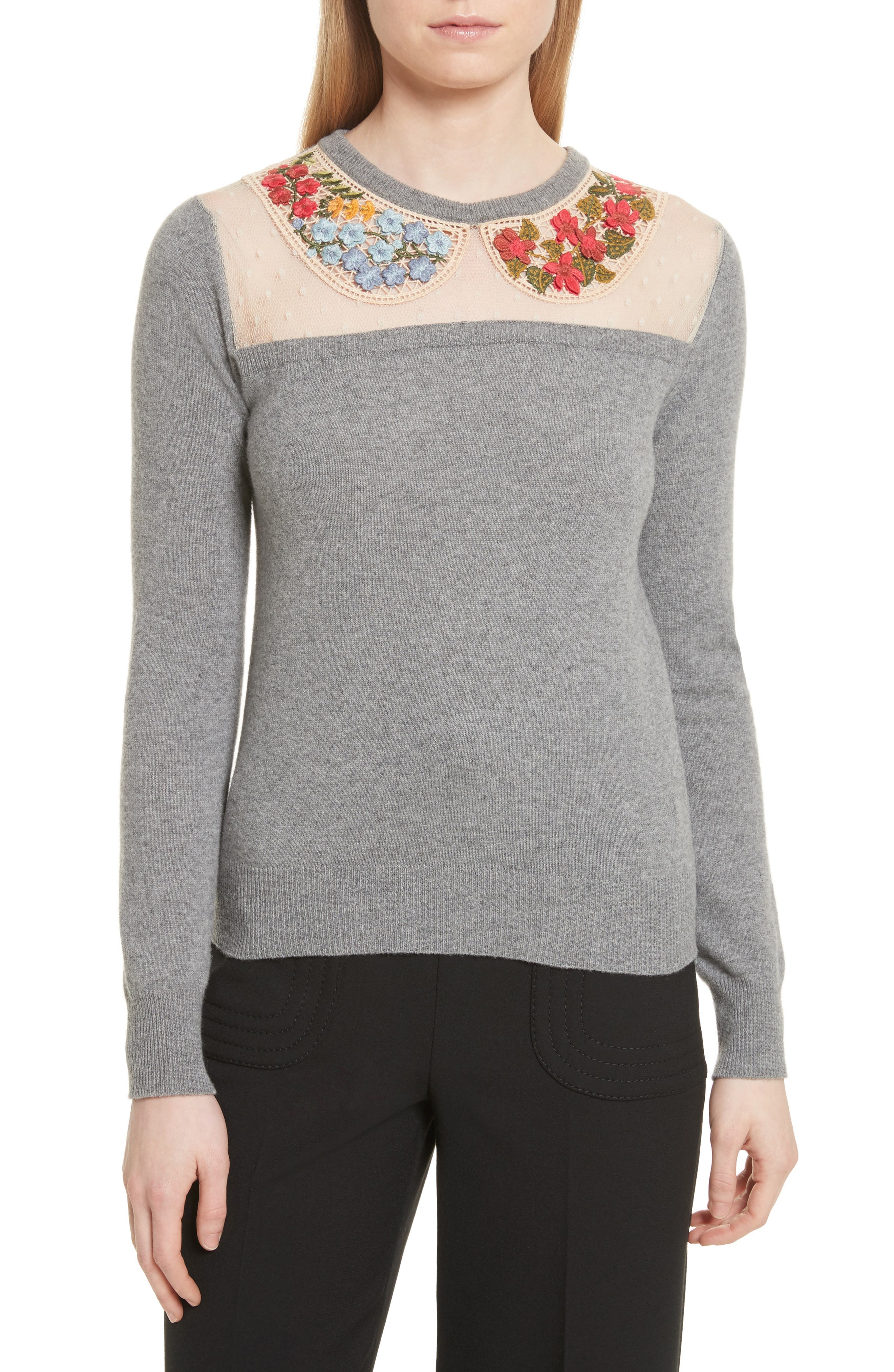 Macramé & Floral Embellished Wool Sweater,                         Main,                         color, Grey