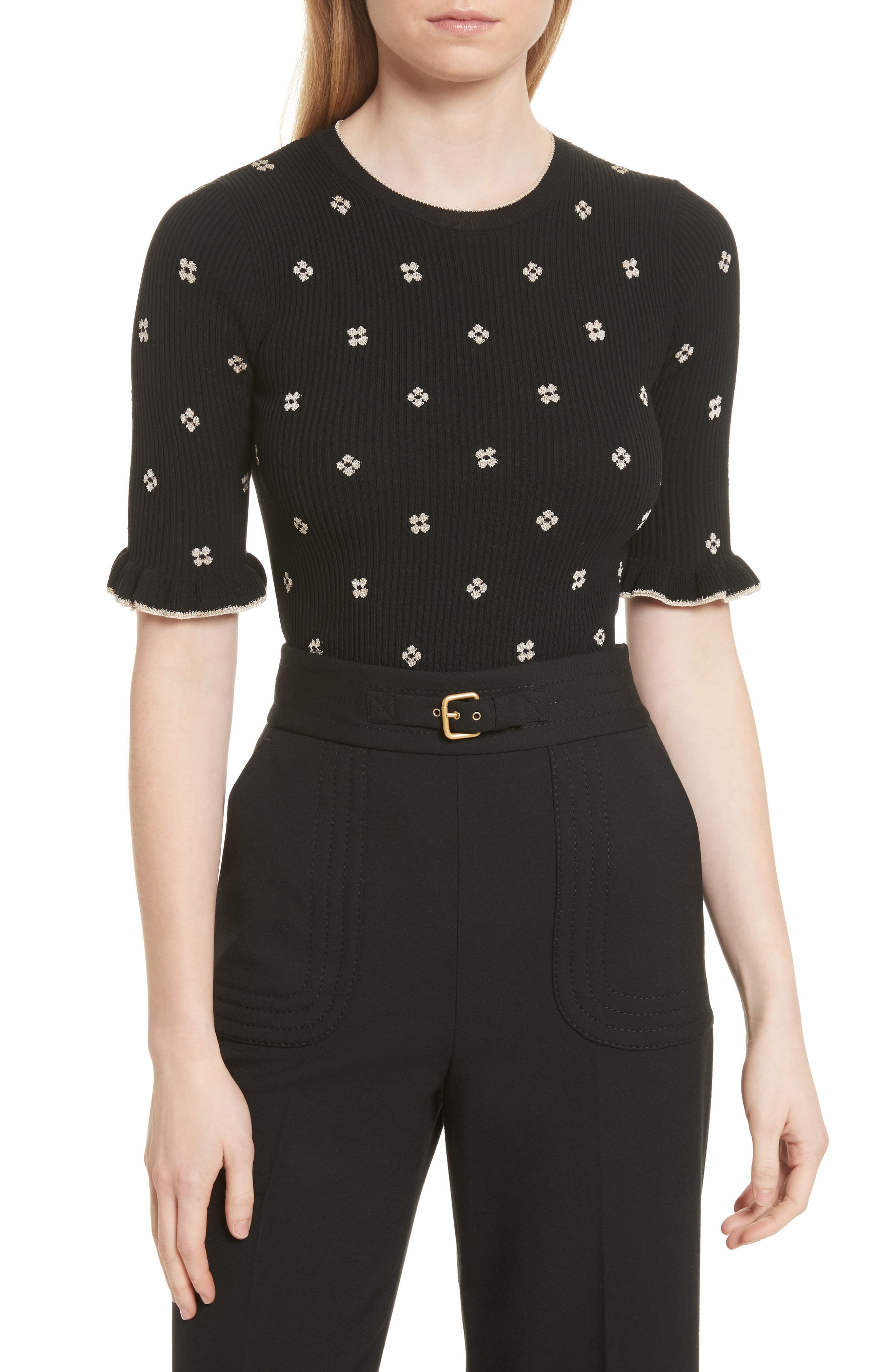 RED Valentino Flower Intarsia Knit Top