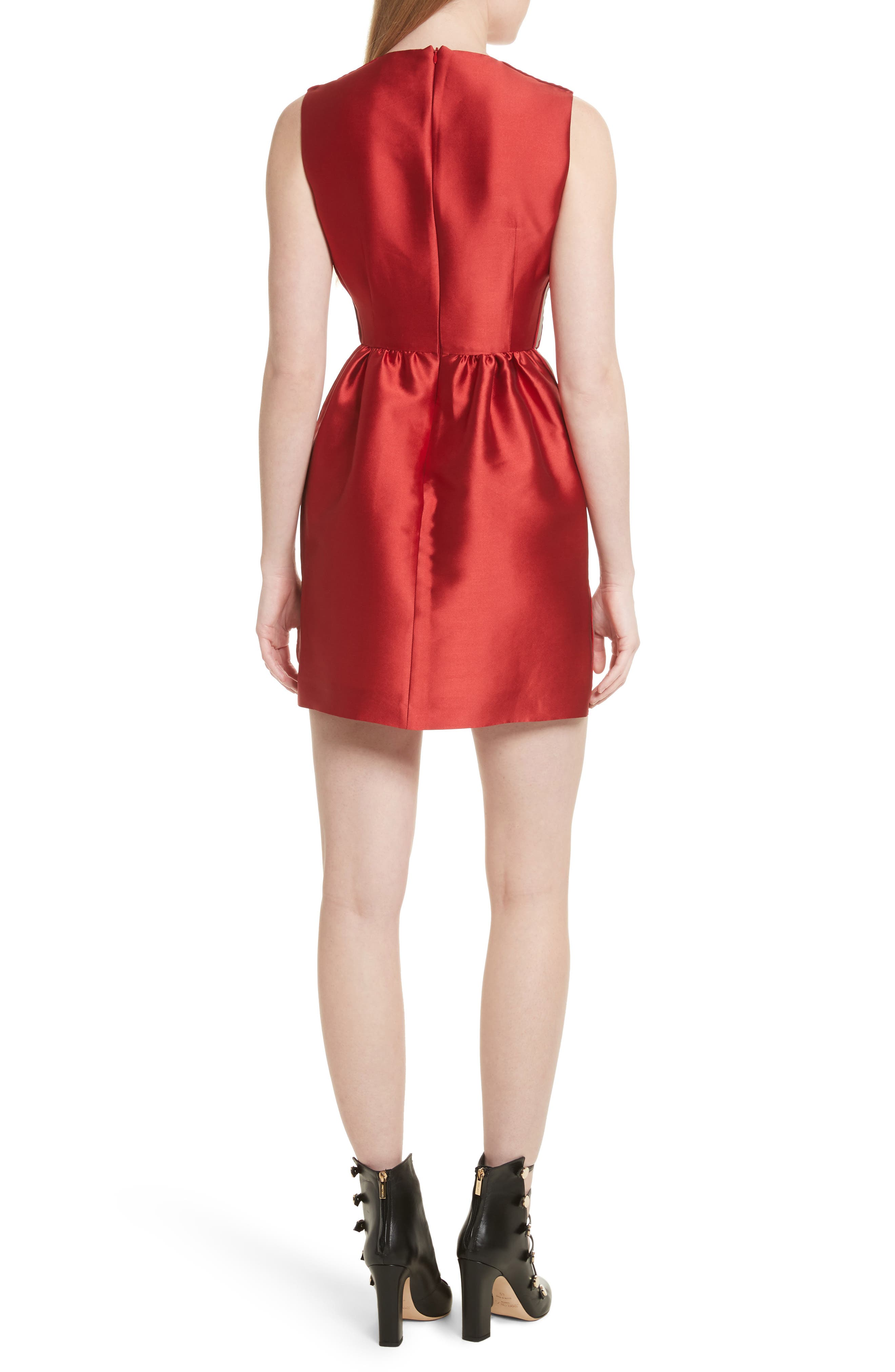 Stripe Twill Fit & Flare Dress,                             Alternate thumbnail 2, color,                             Red