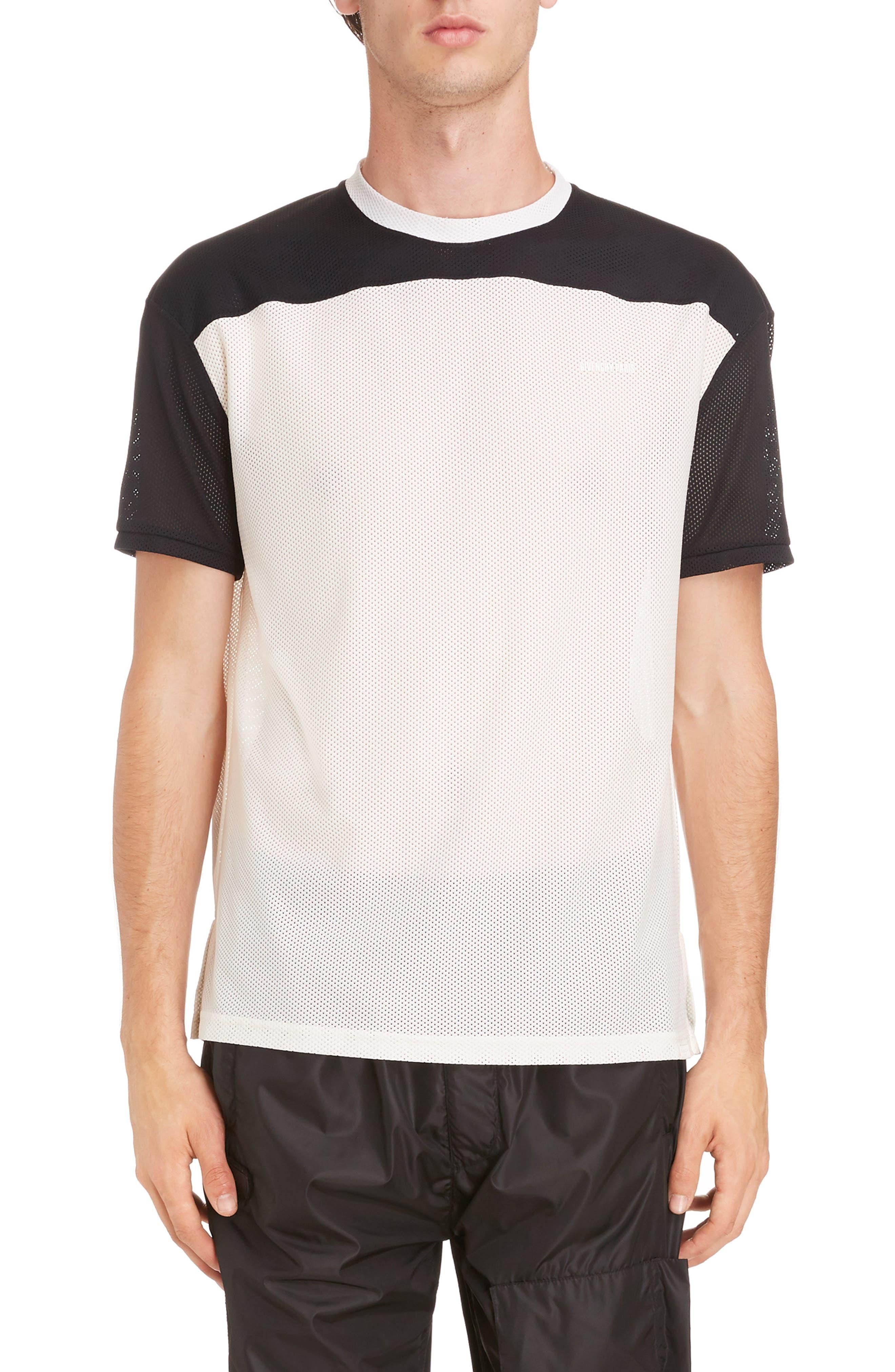 Colorblock Mesh T-Shirt,                             Main thumbnail 1, color,                             Ecru