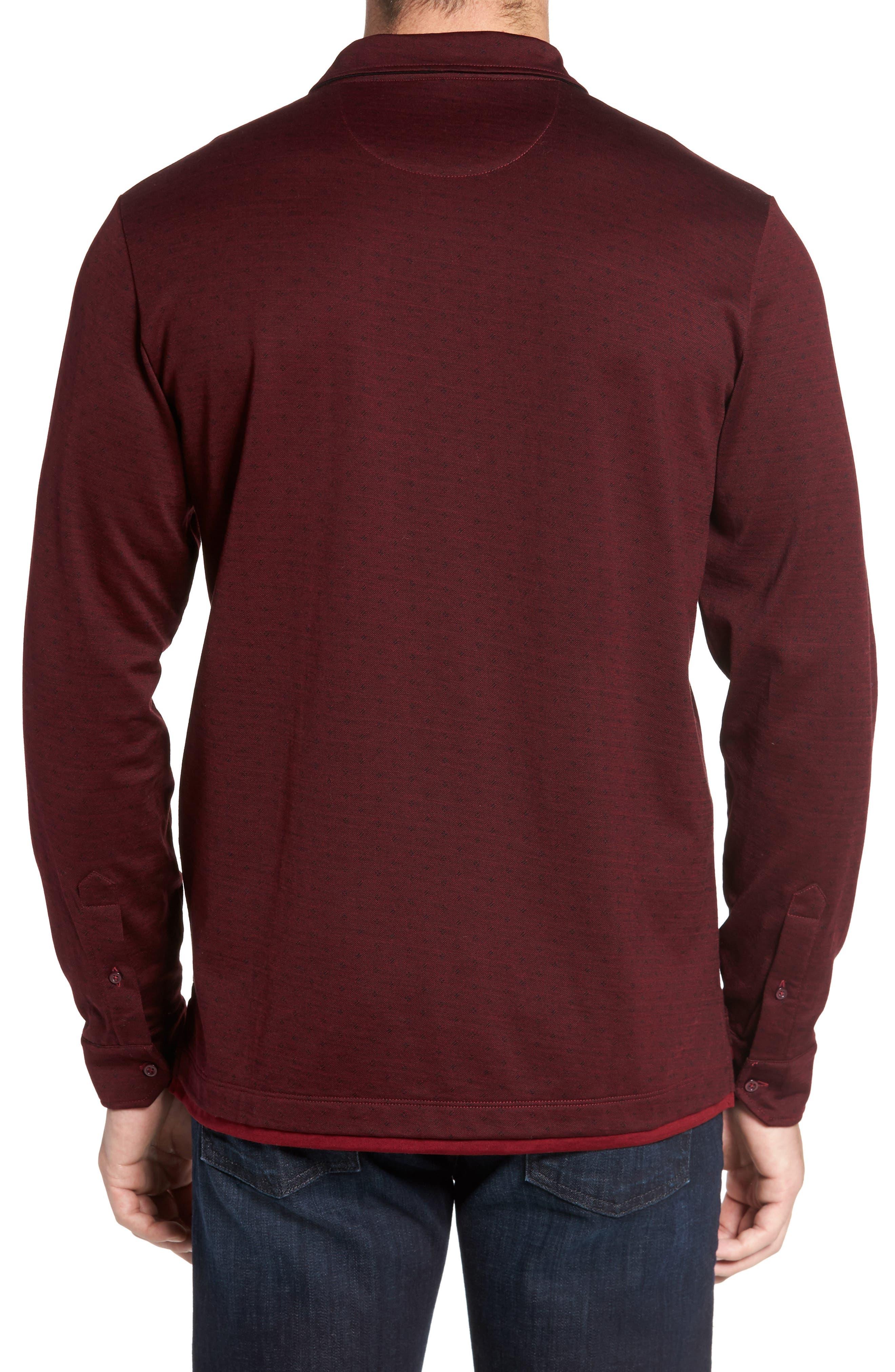 Alternate Image 2  - David Donahue Jacquard Knit Sport Shirt