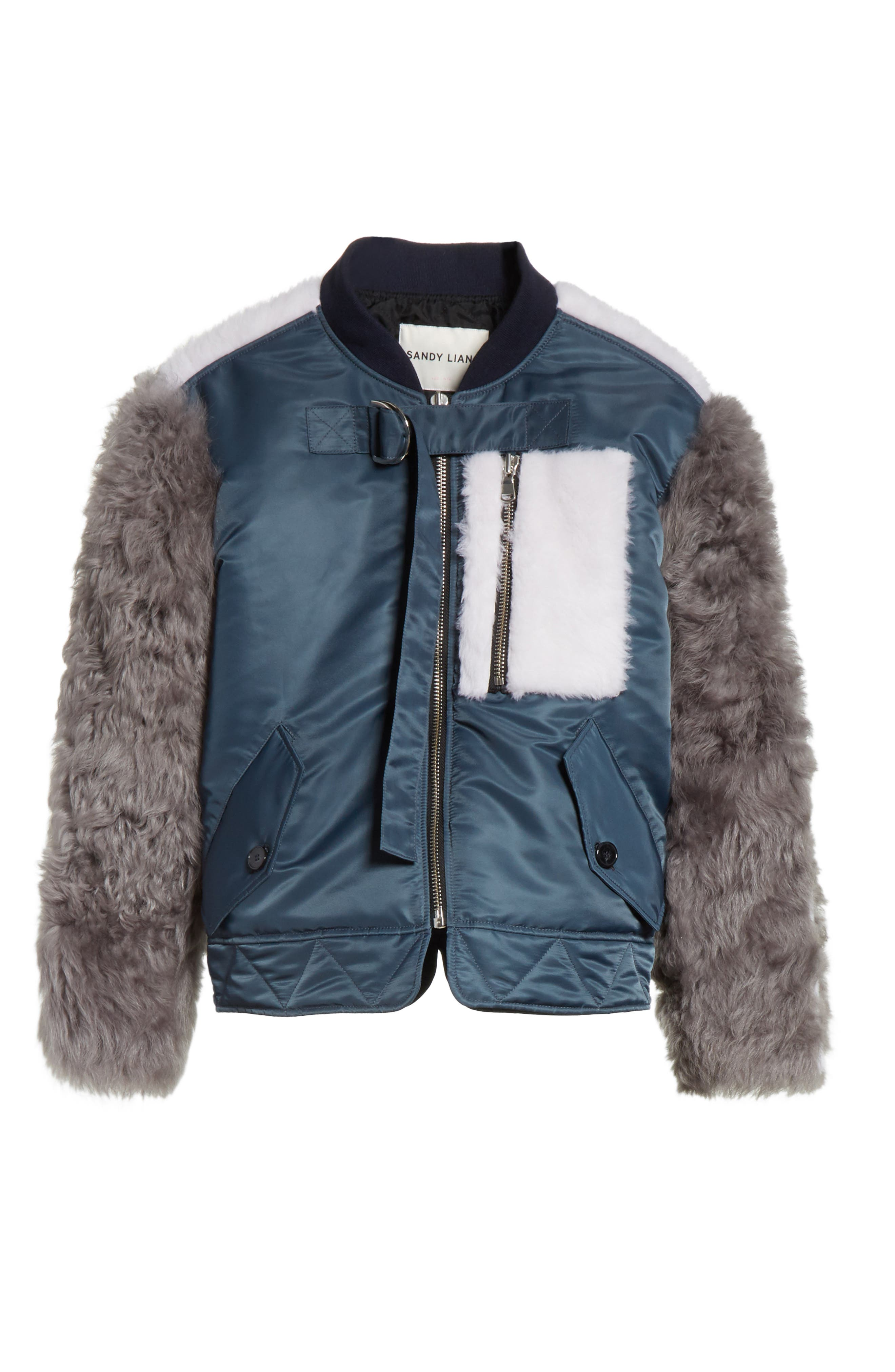 Peter Genuine Shearling Sleeve Jacket,                             Alternate thumbnail 6, color,                             Navy