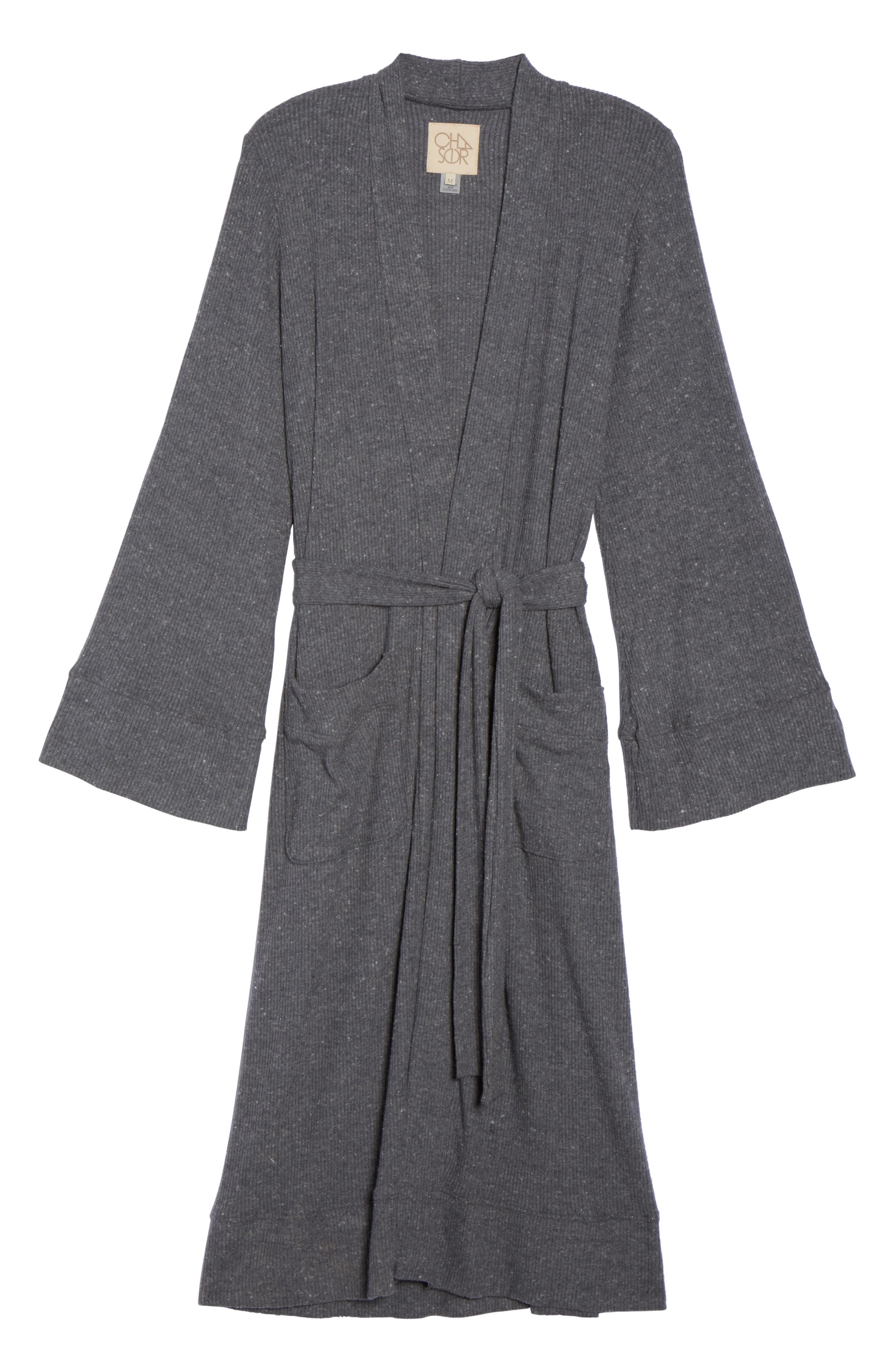 Love Knit Ribbed Robe,                             Alternate thumbnail 4, color,                             Charcoal