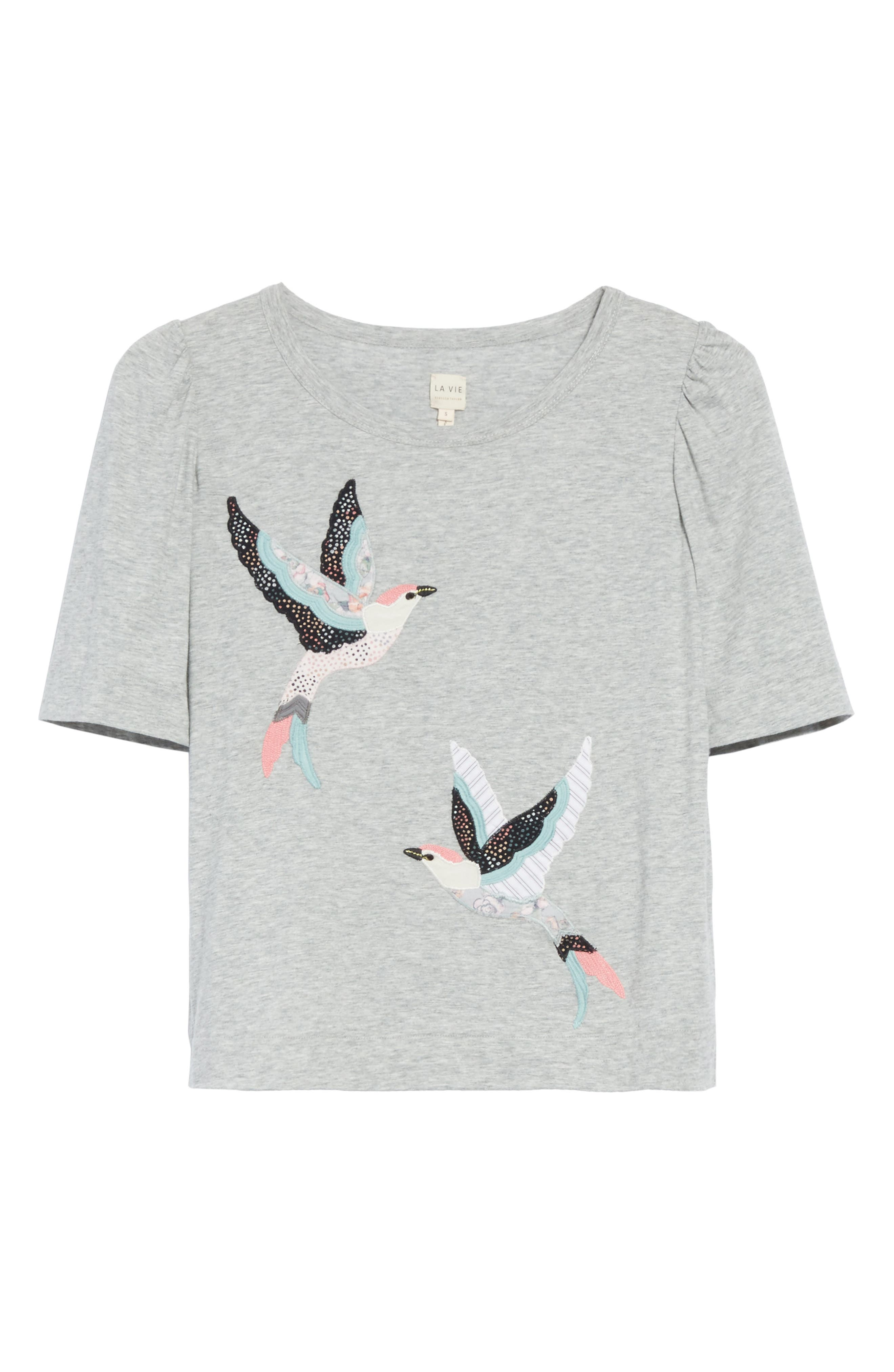 Bird Patch Jersey Top,                             Alternate thumbnail 6, color,                             Grey Heather