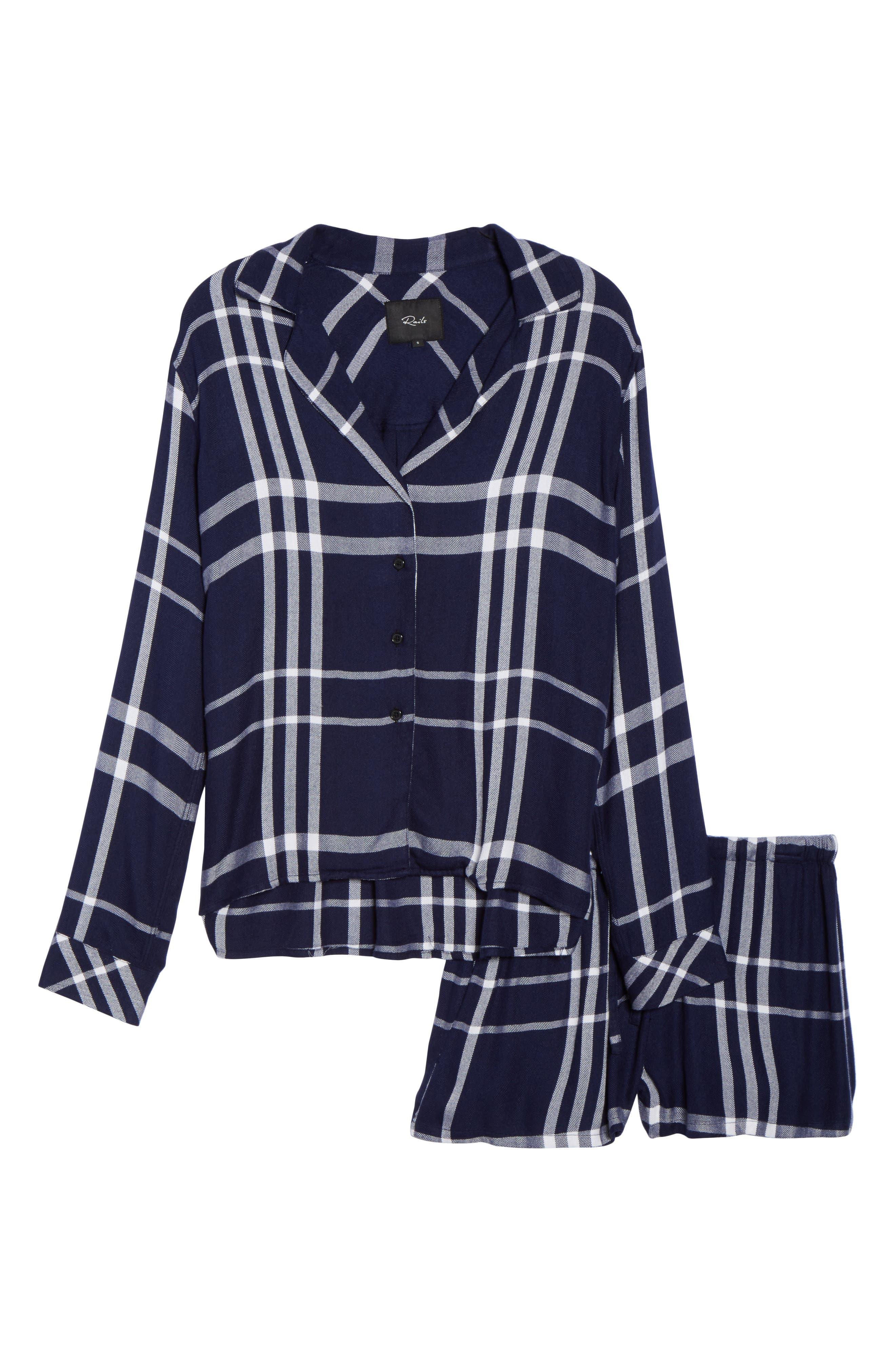 Plaid Short Pajamas,                             Alternate thumbnail 4, color,                             Cadet/ White