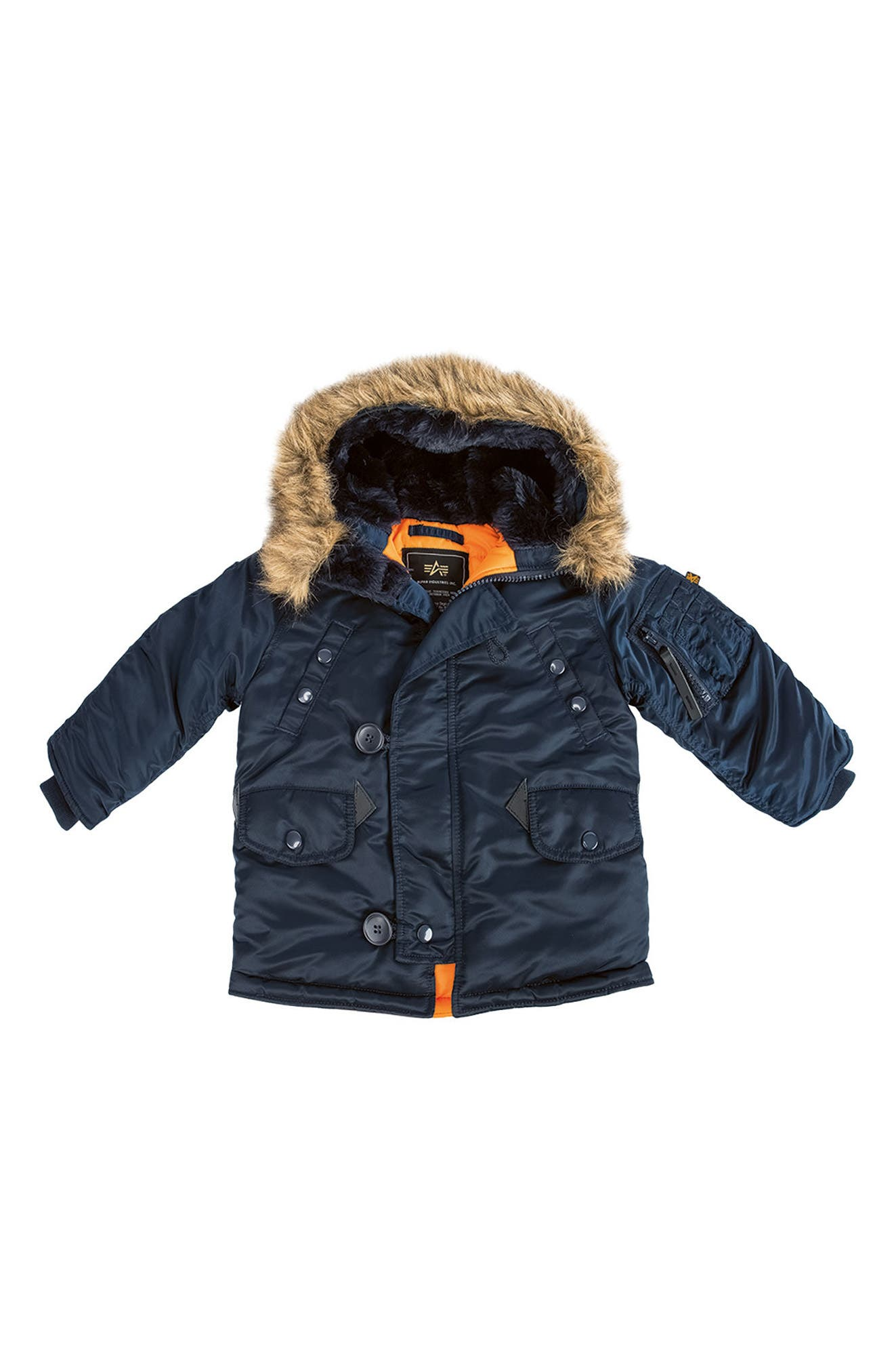 Main Image - Alpha Industries N-3B Water Resistant Faux Fur Parka (Toddler Boys, Little Boys & Big Boys)