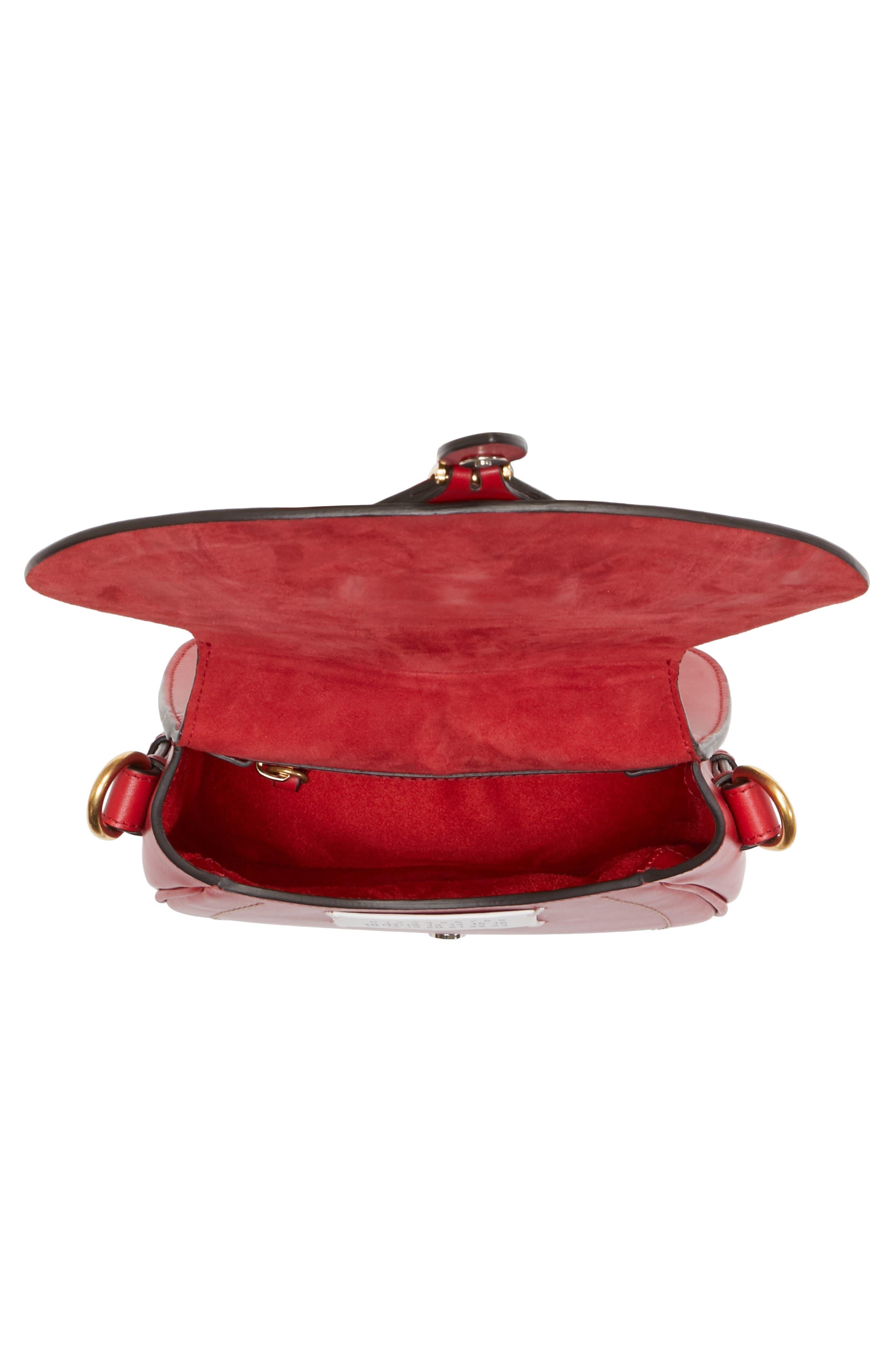 Small Bag-Slide Leather Shoulder Bag,                             Alternate thumbnail 4, color,                             Red