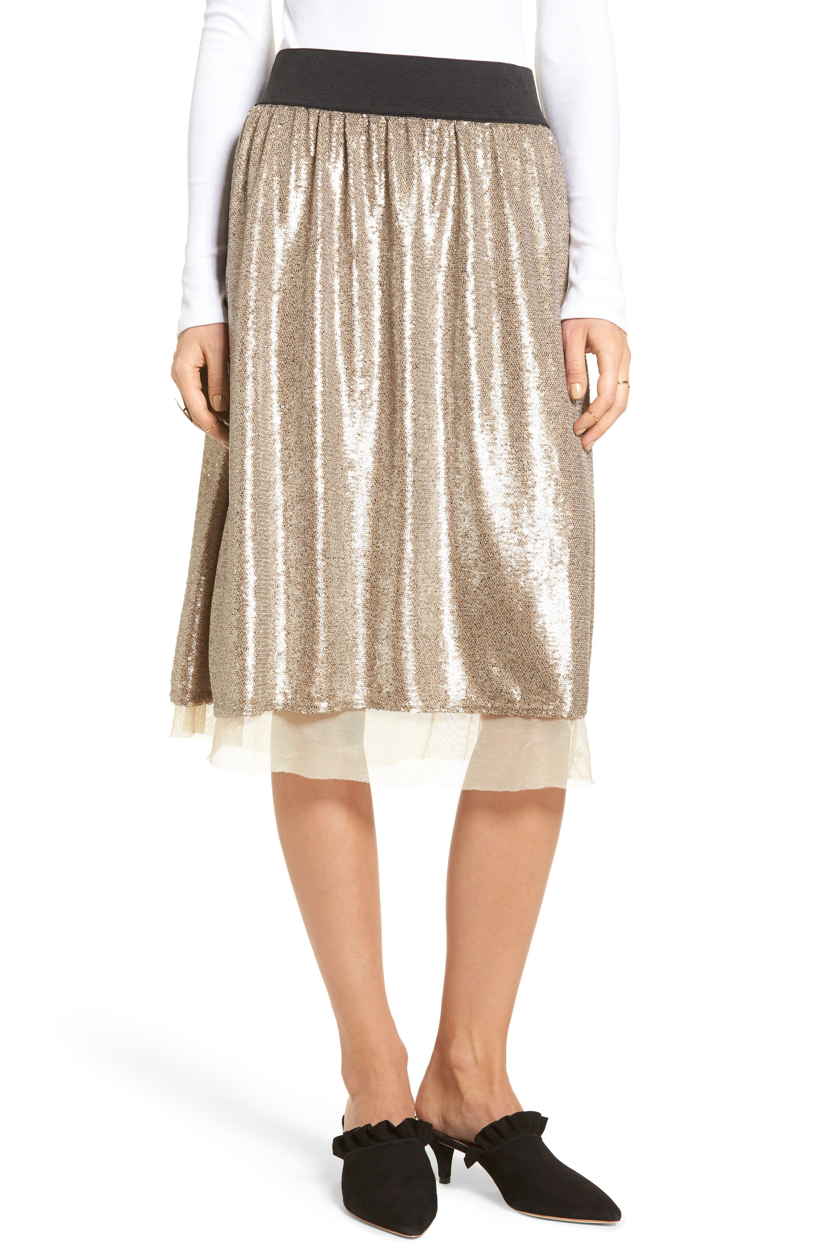 Free People Flashing Lights Sequin Midi Skirt