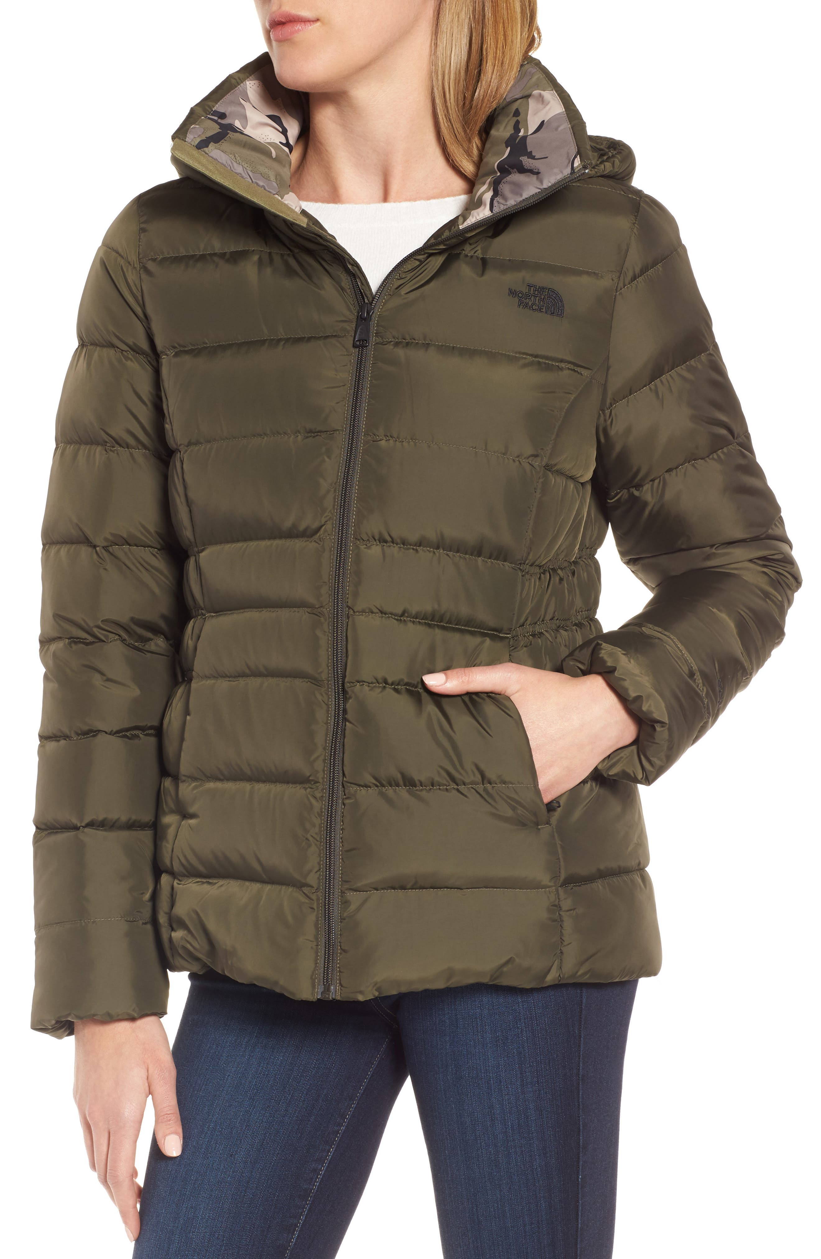 Gotham II Hooded Water Resistant 550-Fill-Power Down Jacket with Faux Fur Trim,                             Alternate thumbnail 6, color,                             New Taupe Green