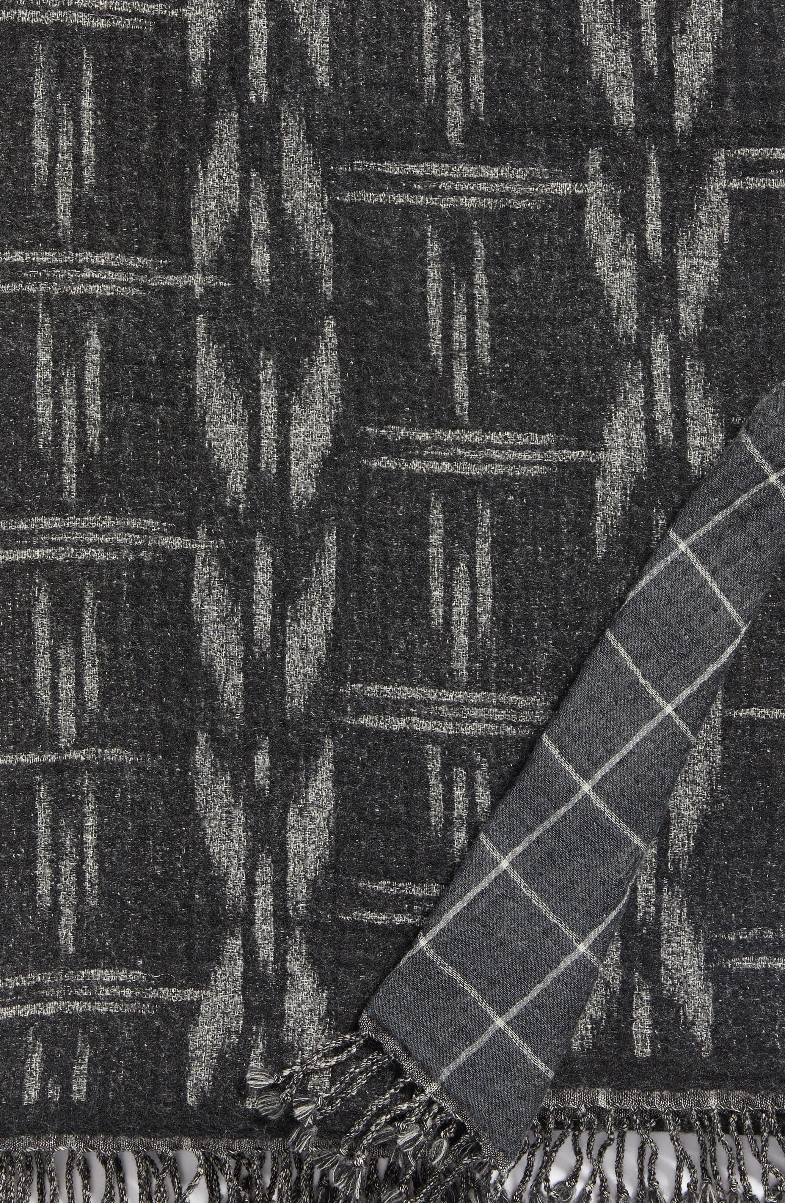 Kasuri Double Face Merino Wool Throw,                             Alternate thumbnail 4, color,                             Kasuri