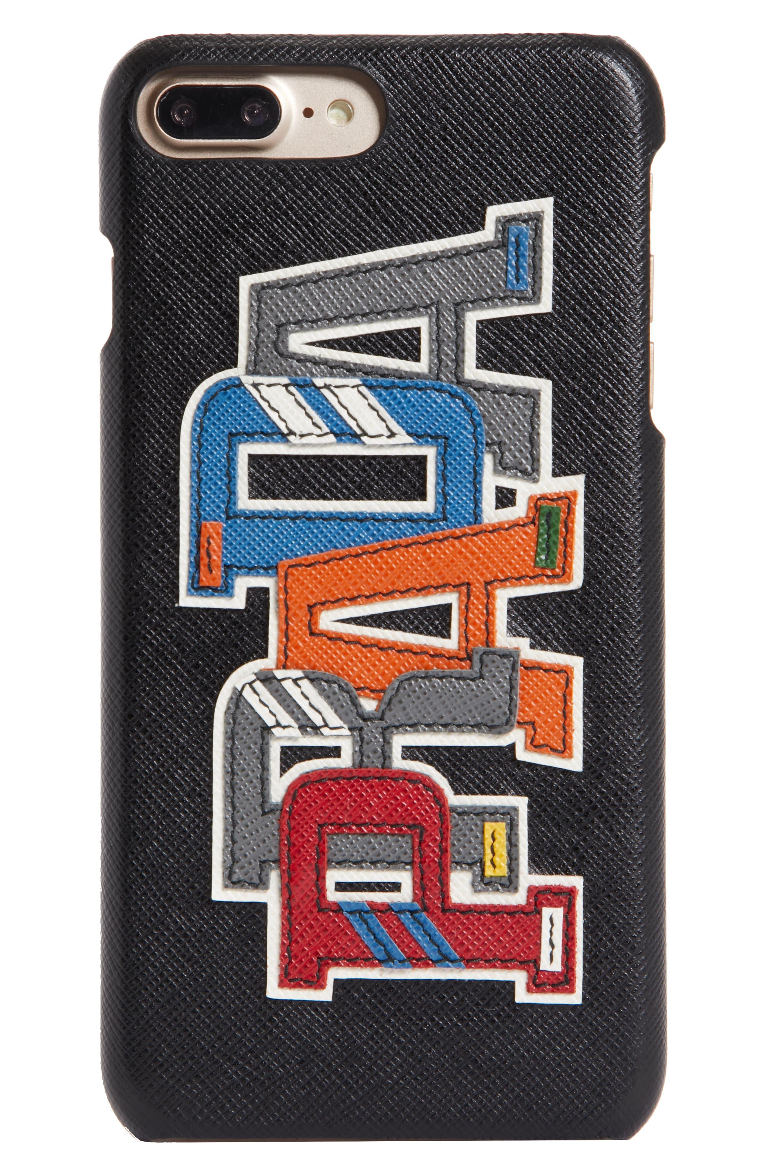 Prada Character Saffiano Leather iPhone 7 Plus 8 Case