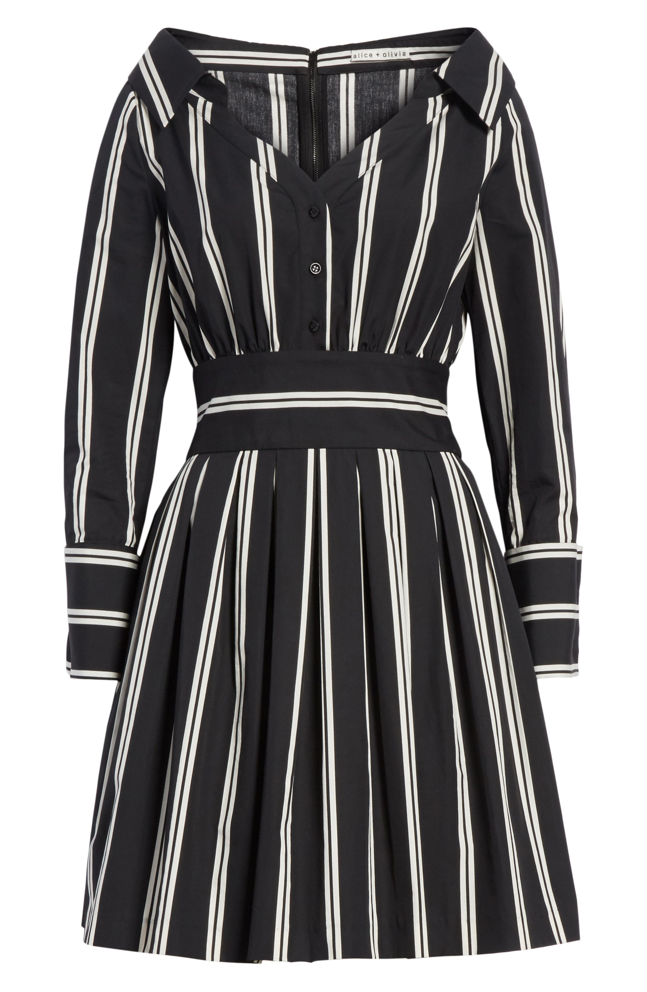 Iliana Stripe Fit & Flare Dress,                             Alternate thumbnail 6, color,                             Mod Pinstripe