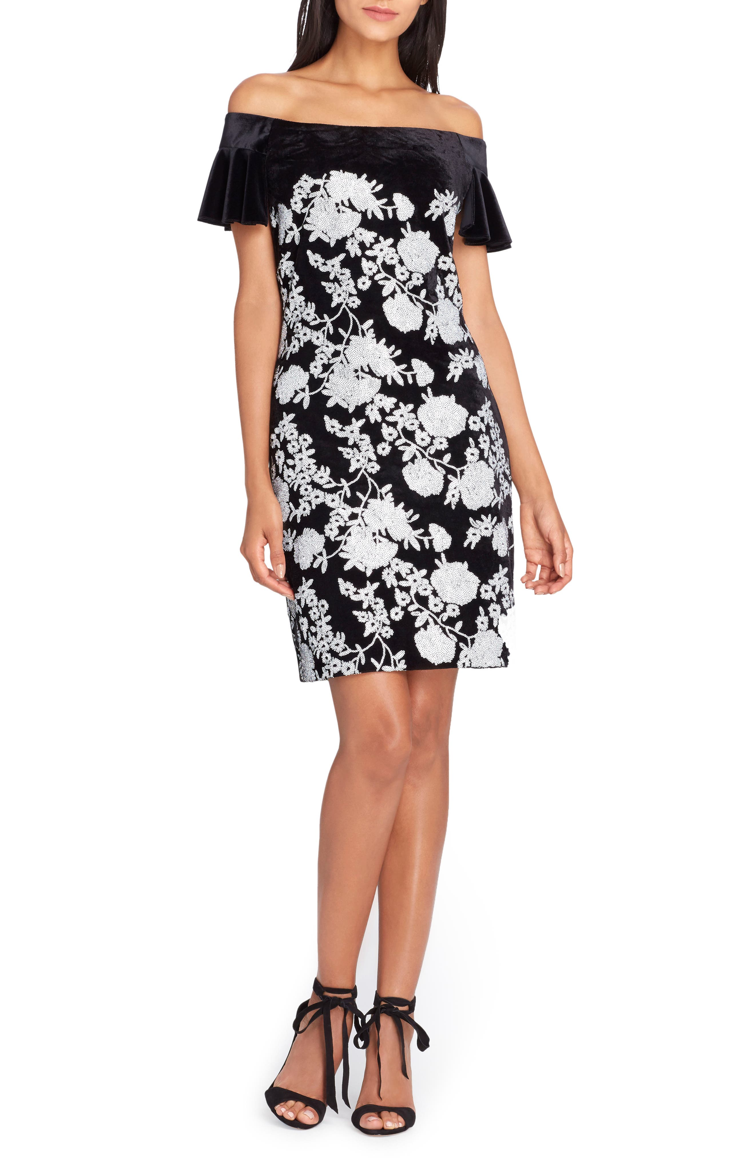 Off the Shoulder Body-Con Dress,                         Main,                         color, Black/ White