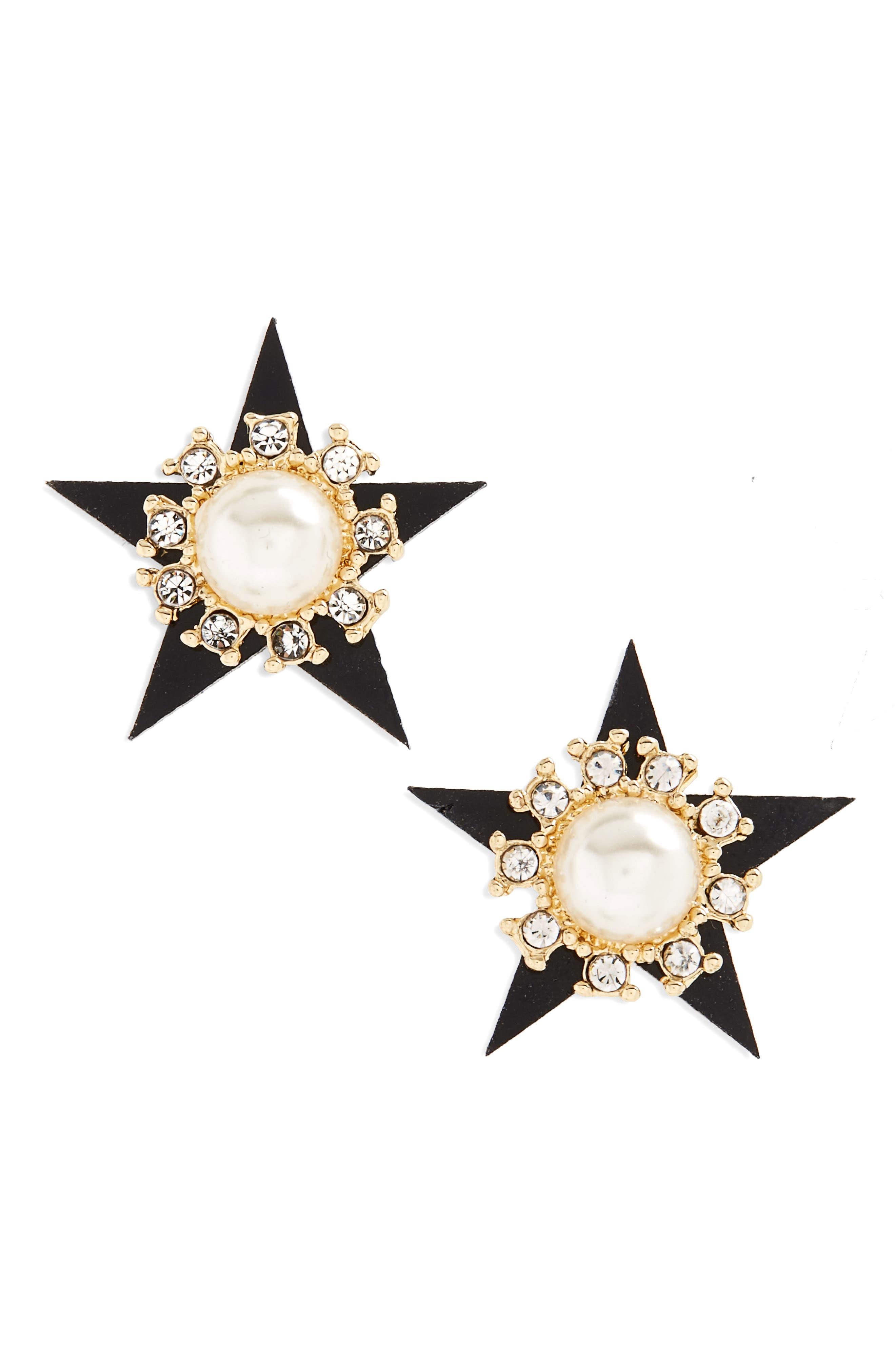 Star Imitation Pearl Stud Earrings,                             Main thumbnail 1, color,                             Gold
