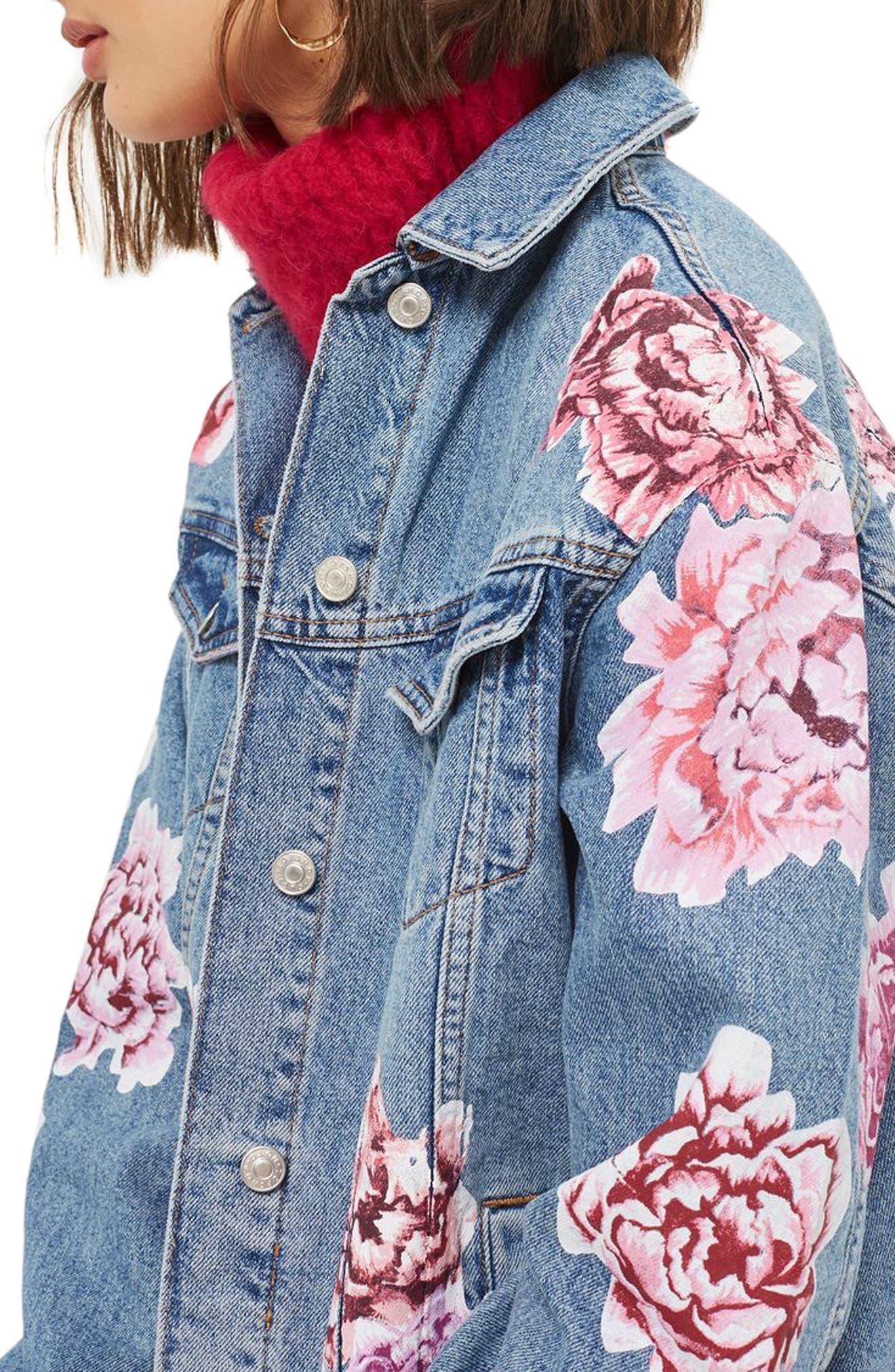 Peony Painted Denim Jacket,                             Alternate thumbnail 3, color,                             Mid Denim Multi