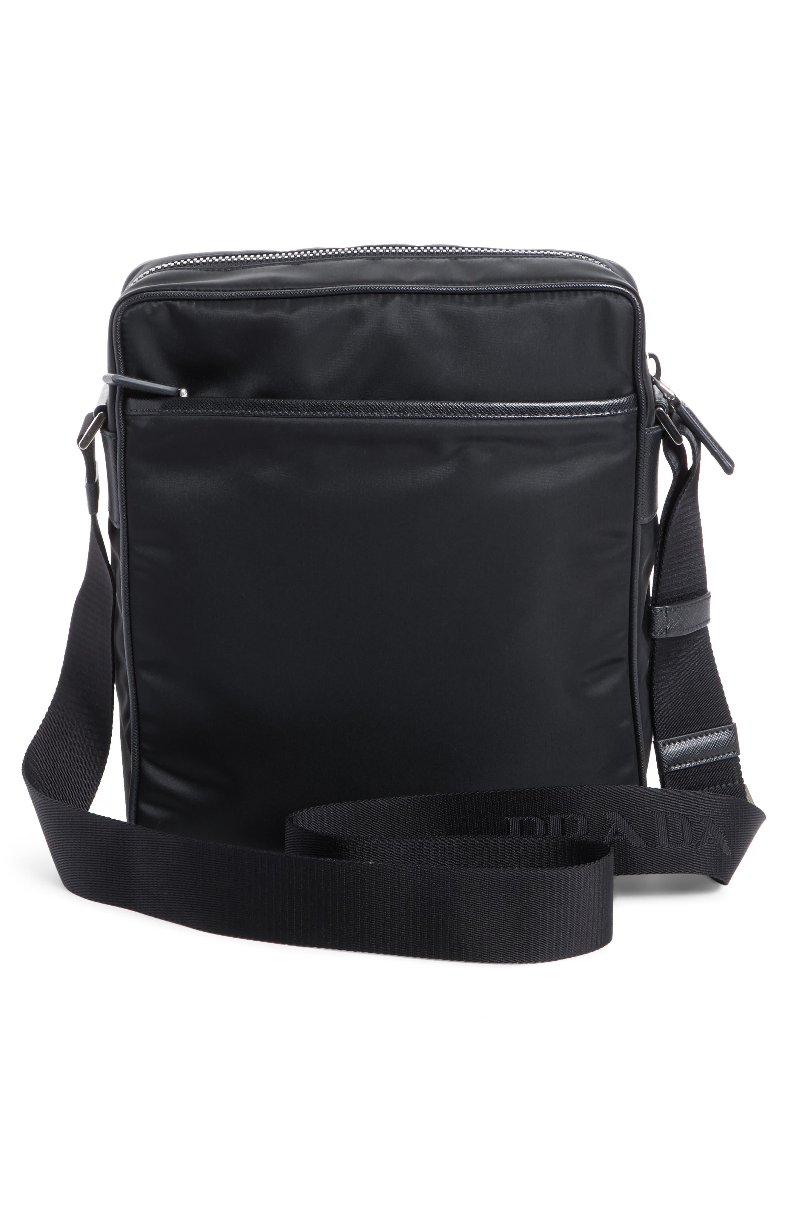 Saffiano Leather Crossbody Bag,                             Alternate thumbnail 5, color,                             Nero