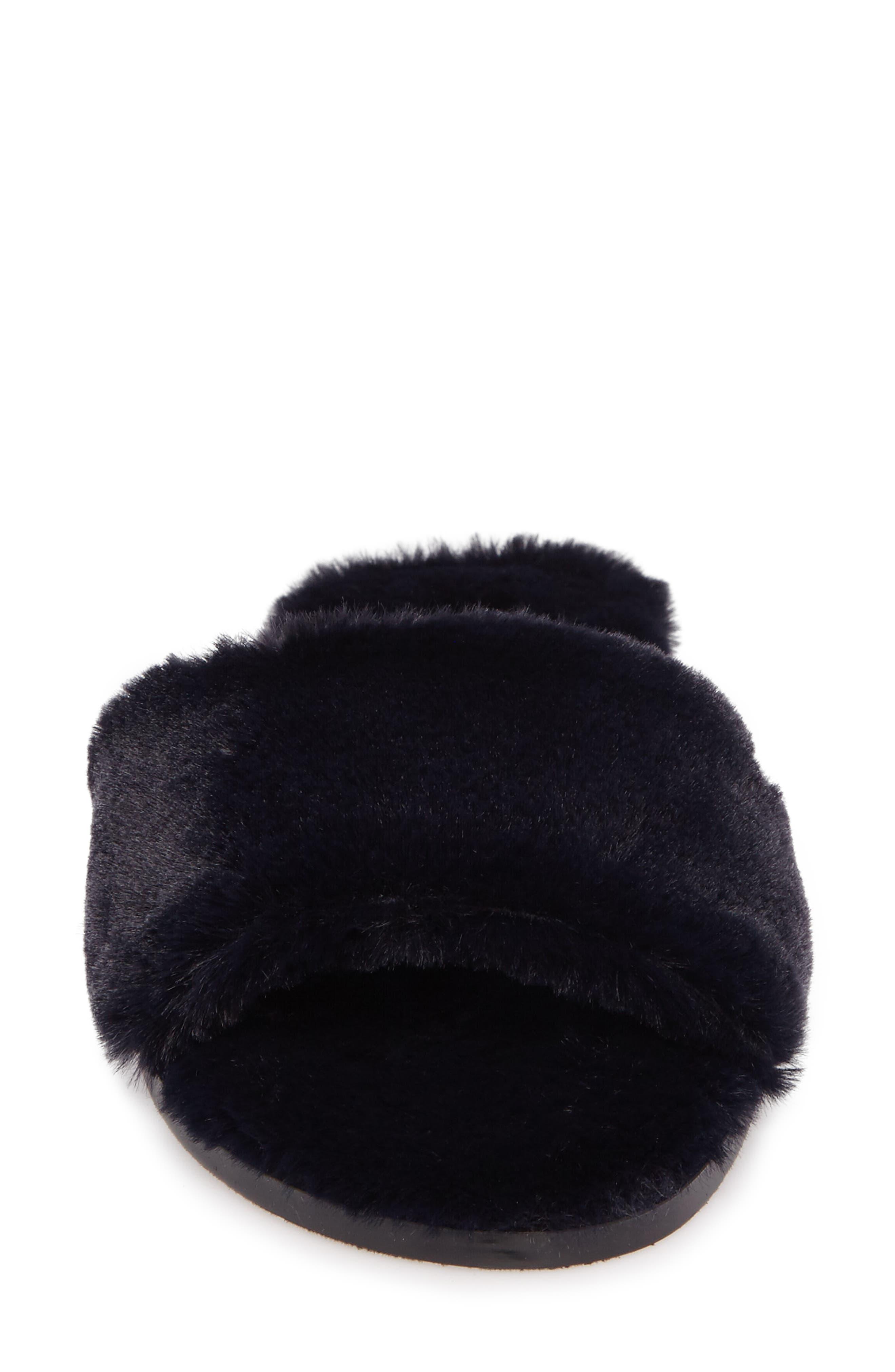 Mulholland Faux Fur Slide Sandal,                             Alternate thumbnail 4, color,                             Navy
