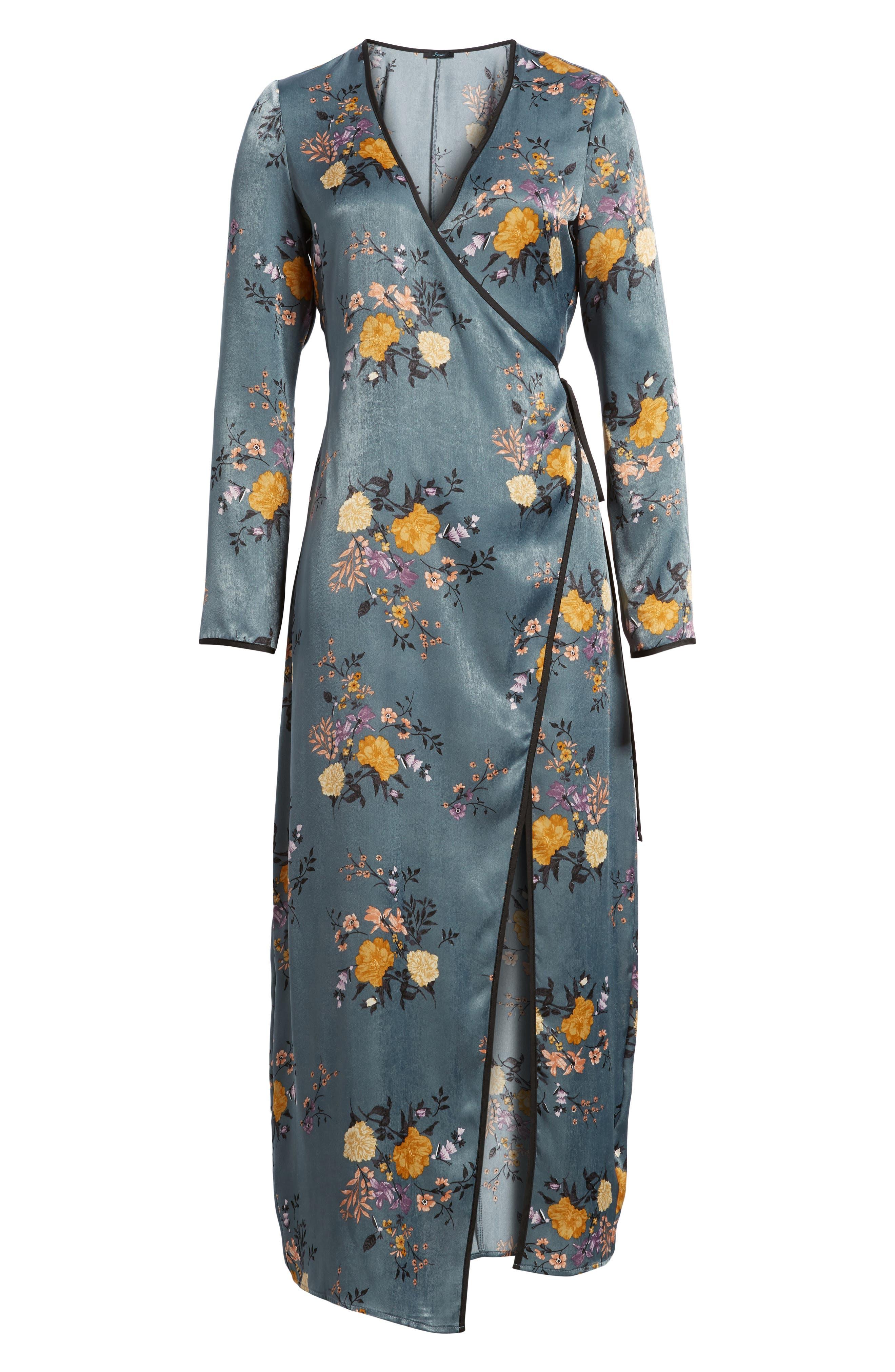 Satin Wrap Kimono,                             Alternate thumbnail 6, color,                             Storm Blue Print