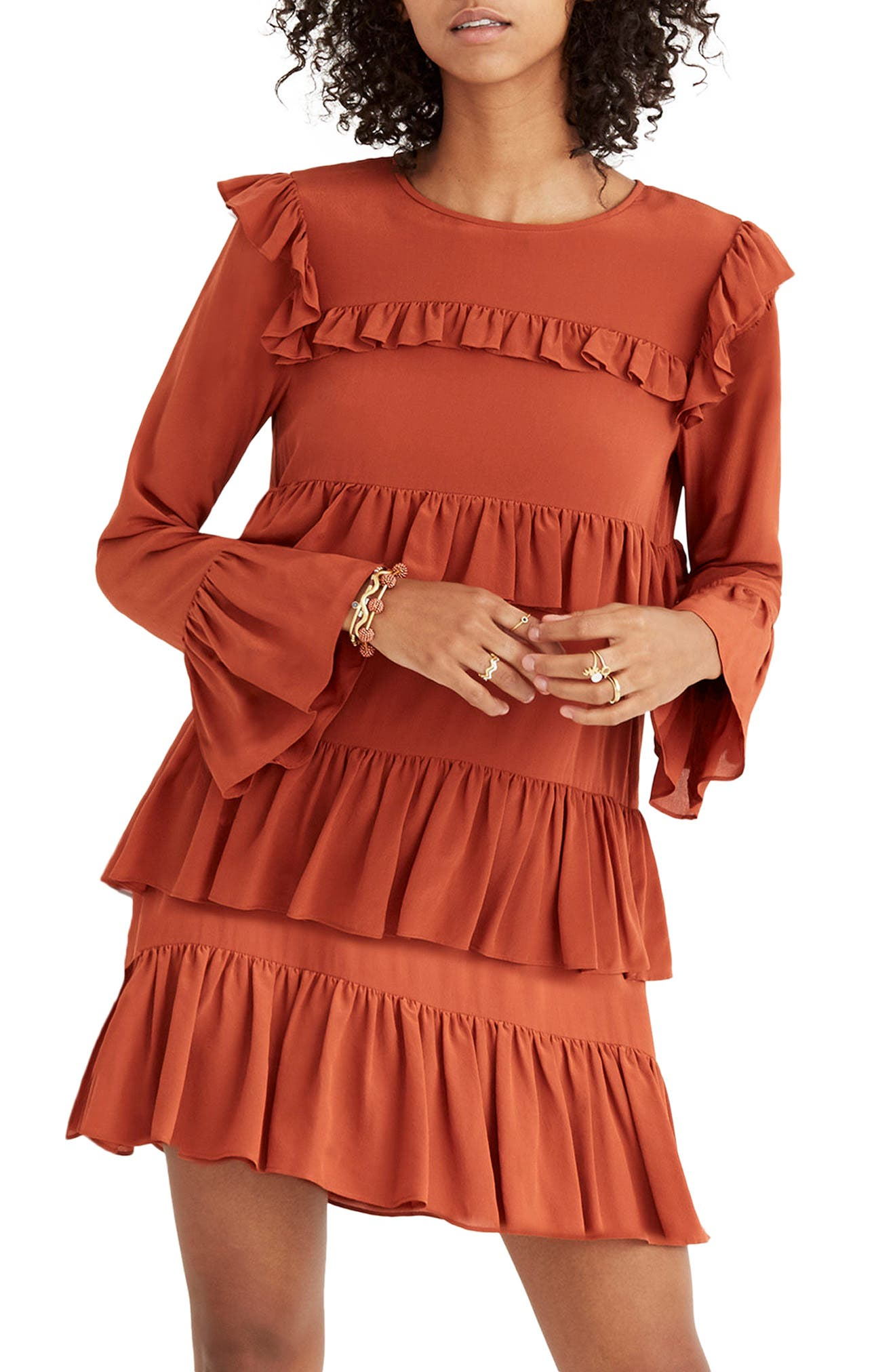 Waterlily Ruffle Dress,                             Main thumbnail 1, color,                             Burnished Rust
