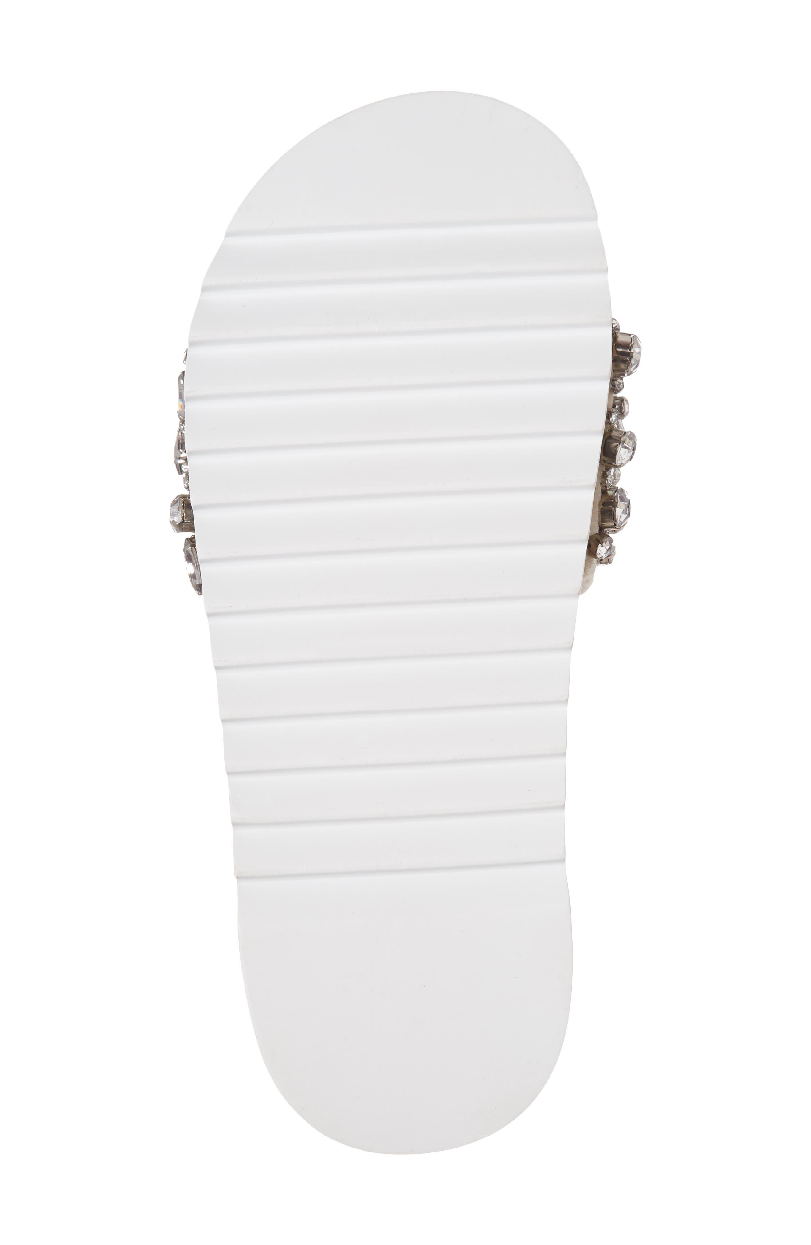 Jacory Crystal Embellished Slide Sandal,                             Alternate thumbnail 6, color,                             Fog