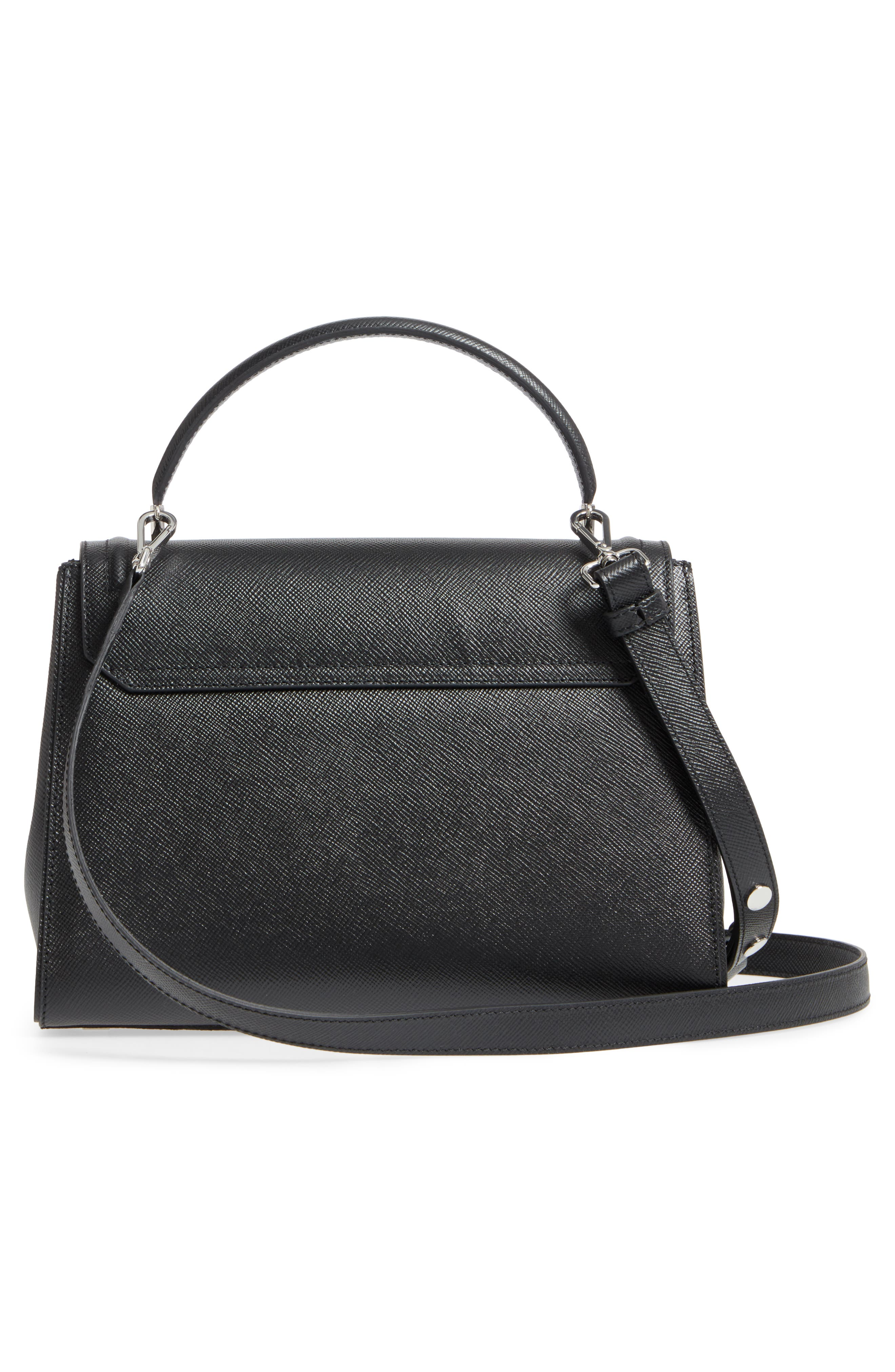 Elena Leather Top Handle Satchel,                             Alternate thumbnail 3, color,                             Black