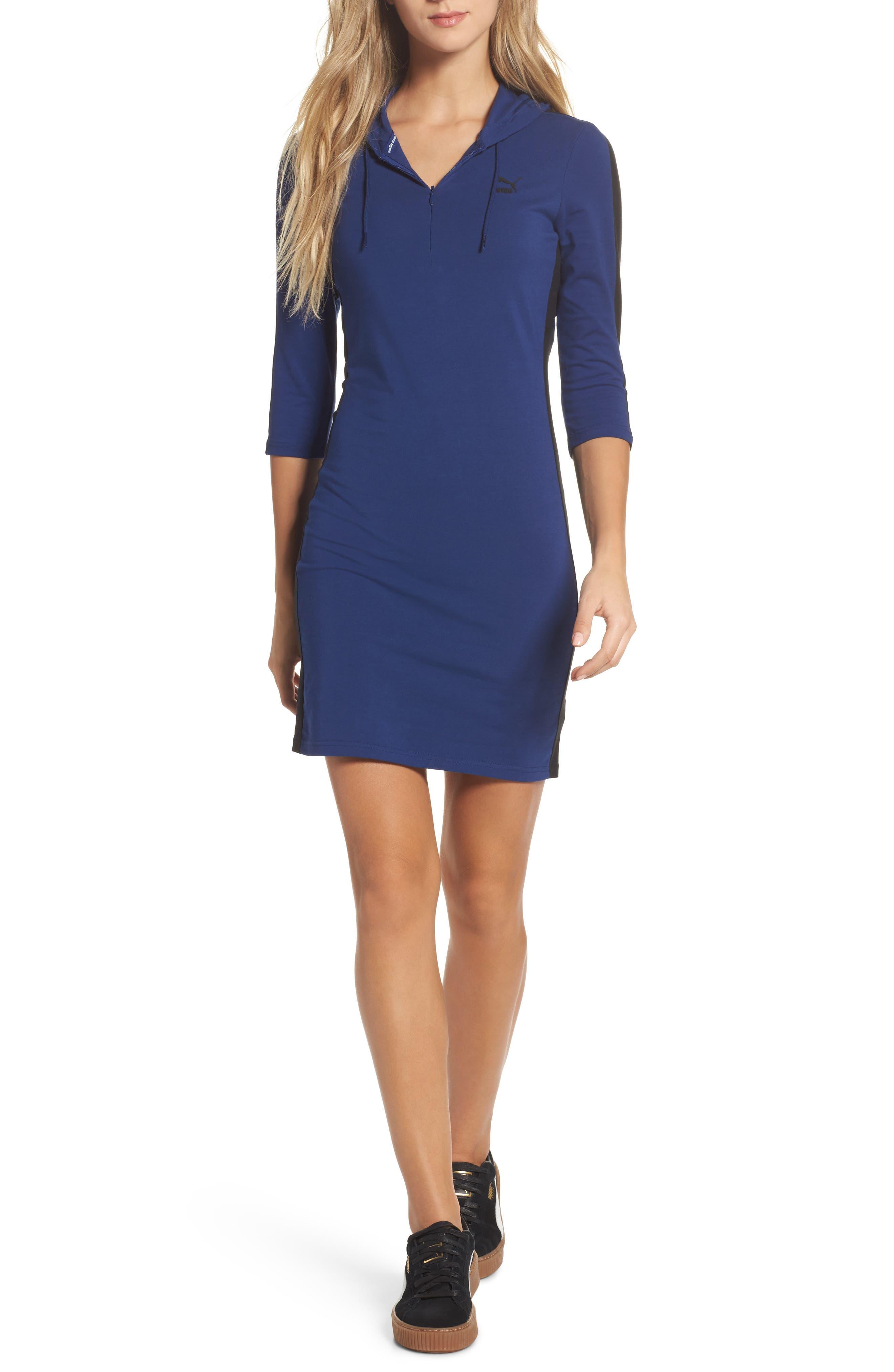 T7 Sweatshirt Dress,                         Main,                         color, Blue Depths