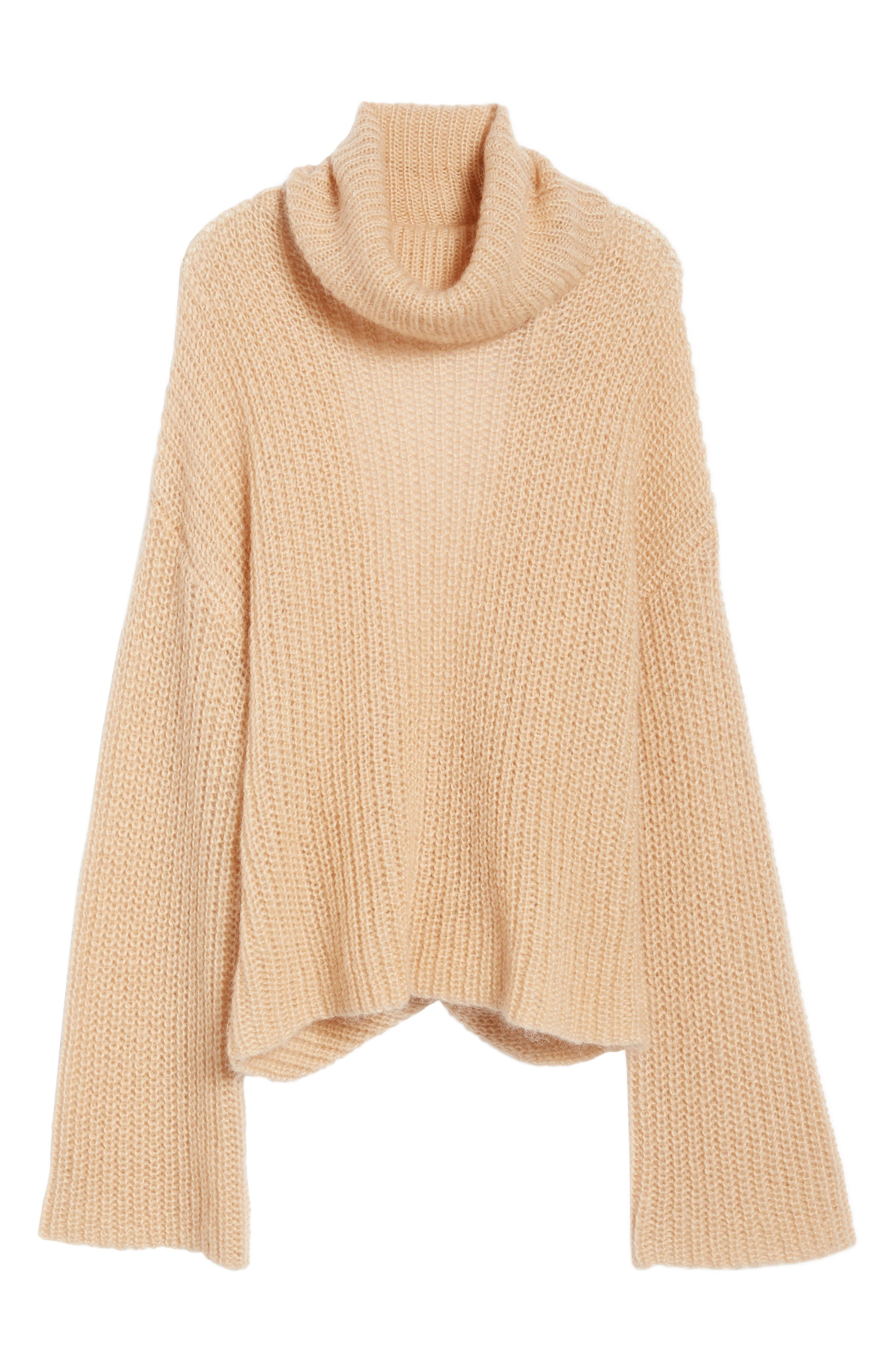 Cross Back Turtleneck Sweater,                             Alternate thumbnail 6, color,                             Toasted Almond