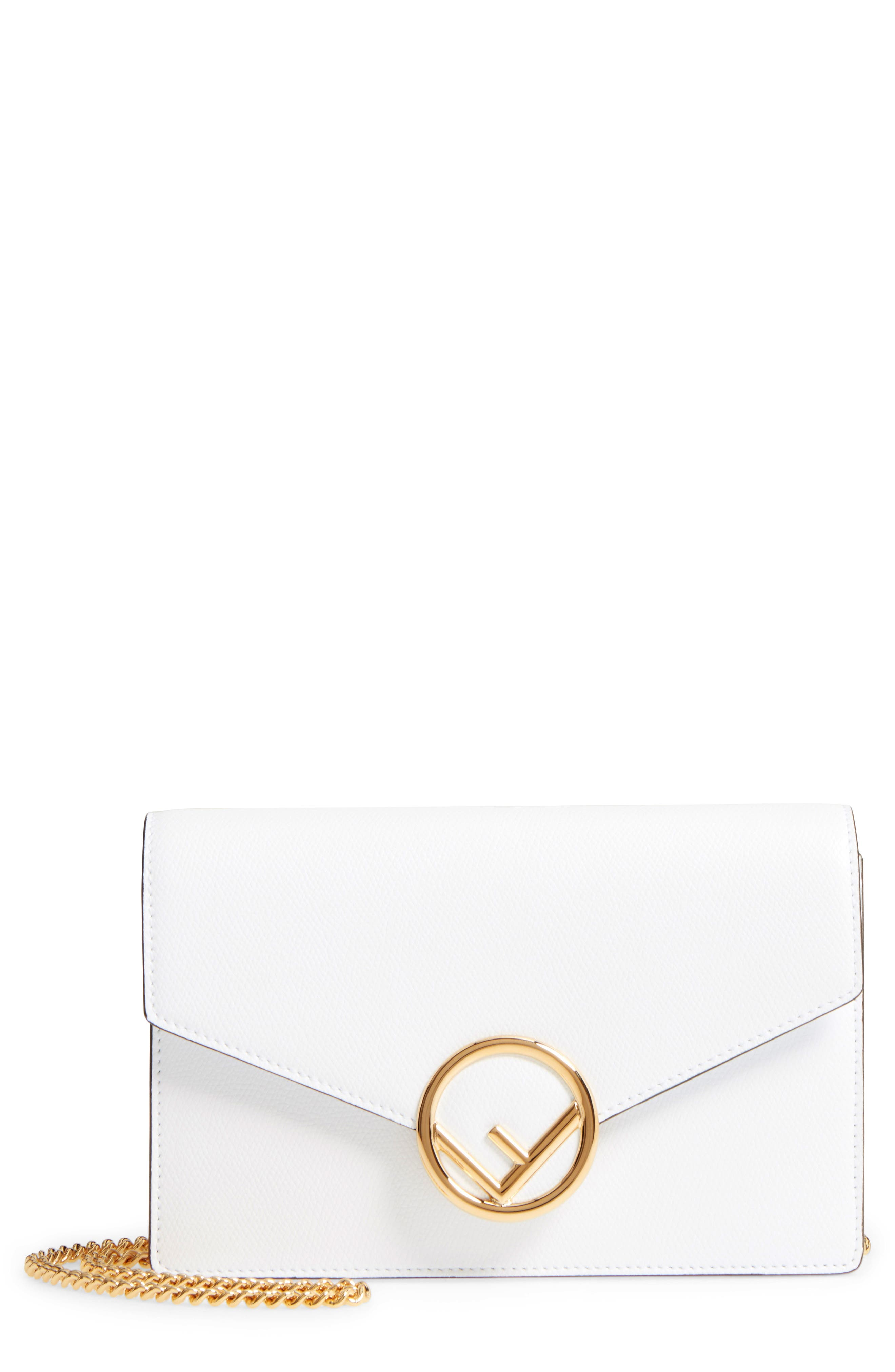 Alternate Image 1 Selected - Fendi Liberty Logo Leather Wallet on a Chain
