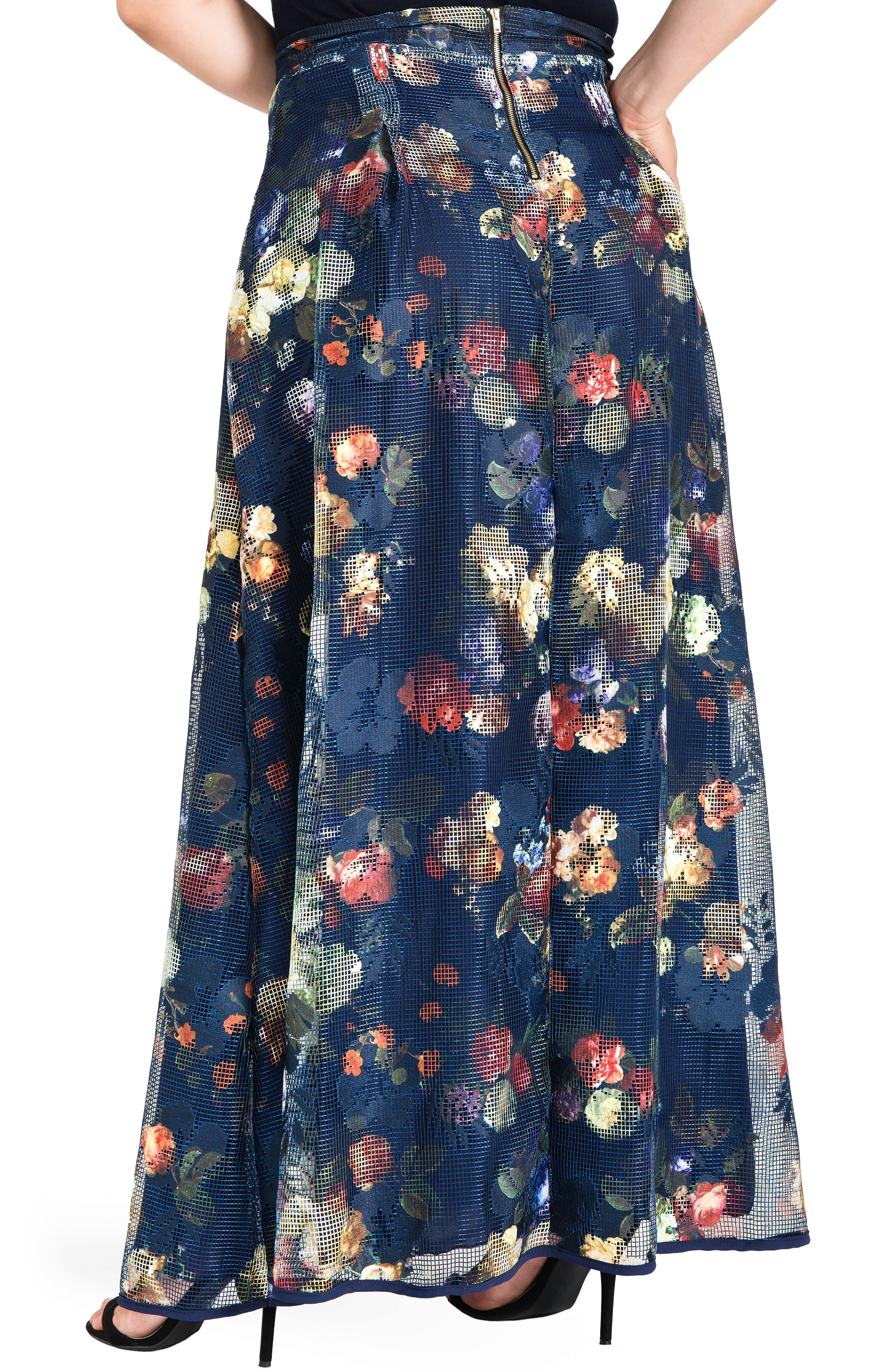 Iris Floral Mesh Maxi Skirt,                             Alternate thumbnail 2, color,                             Navy Floral