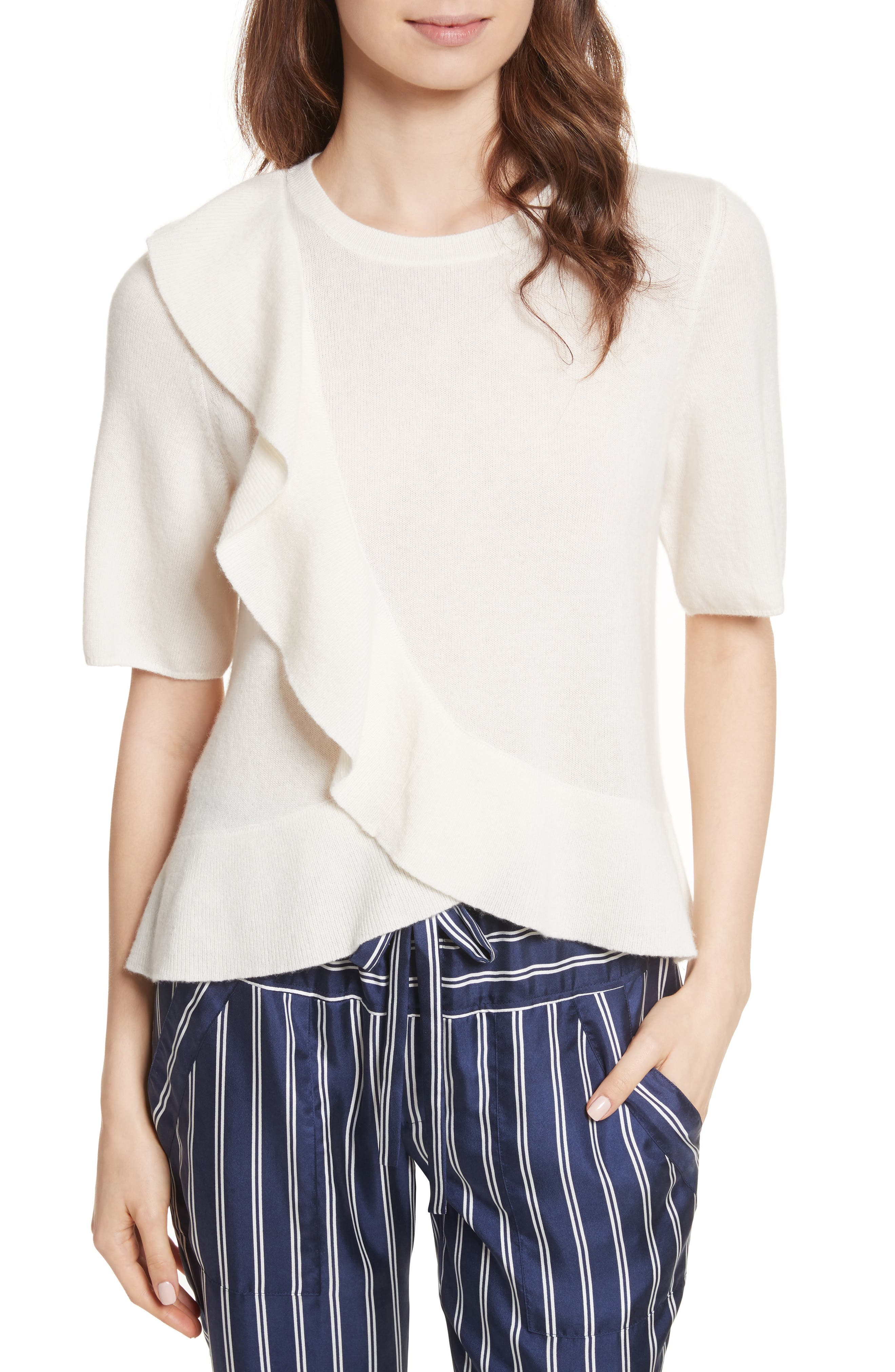 Jayni Asymmetrical Ruffle Cashmere Sweater,                         Main,                         color, Porcelain