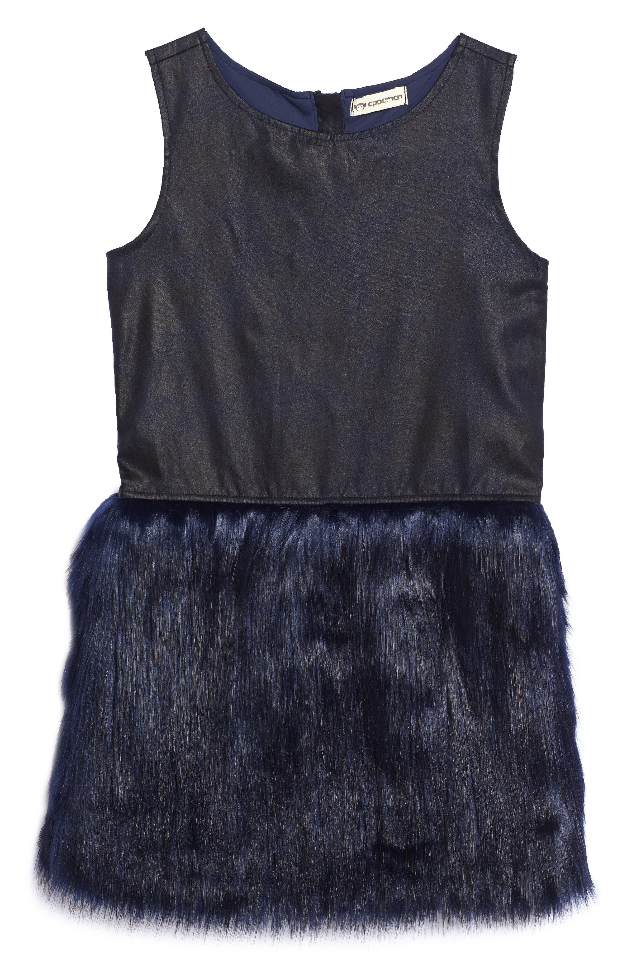 Alternate Image 1 Selected - Appaman Eve Faux Fur Dress (Toddler Girls, Little Girls & Big Girls)