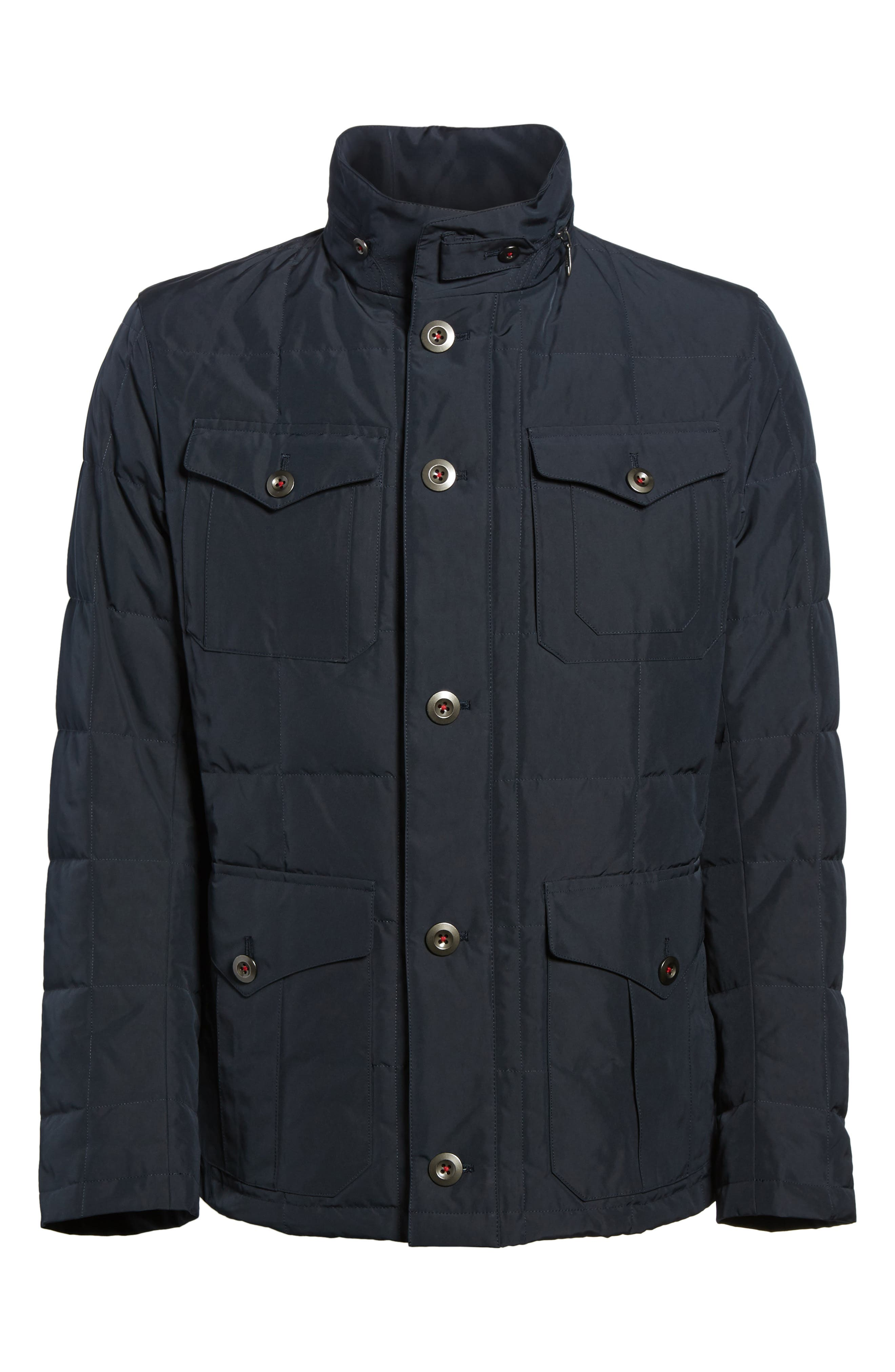Quilted Down Field Jacket with Stowaway Hood,                             Alternate thumbnail 6, color,                             Midnight