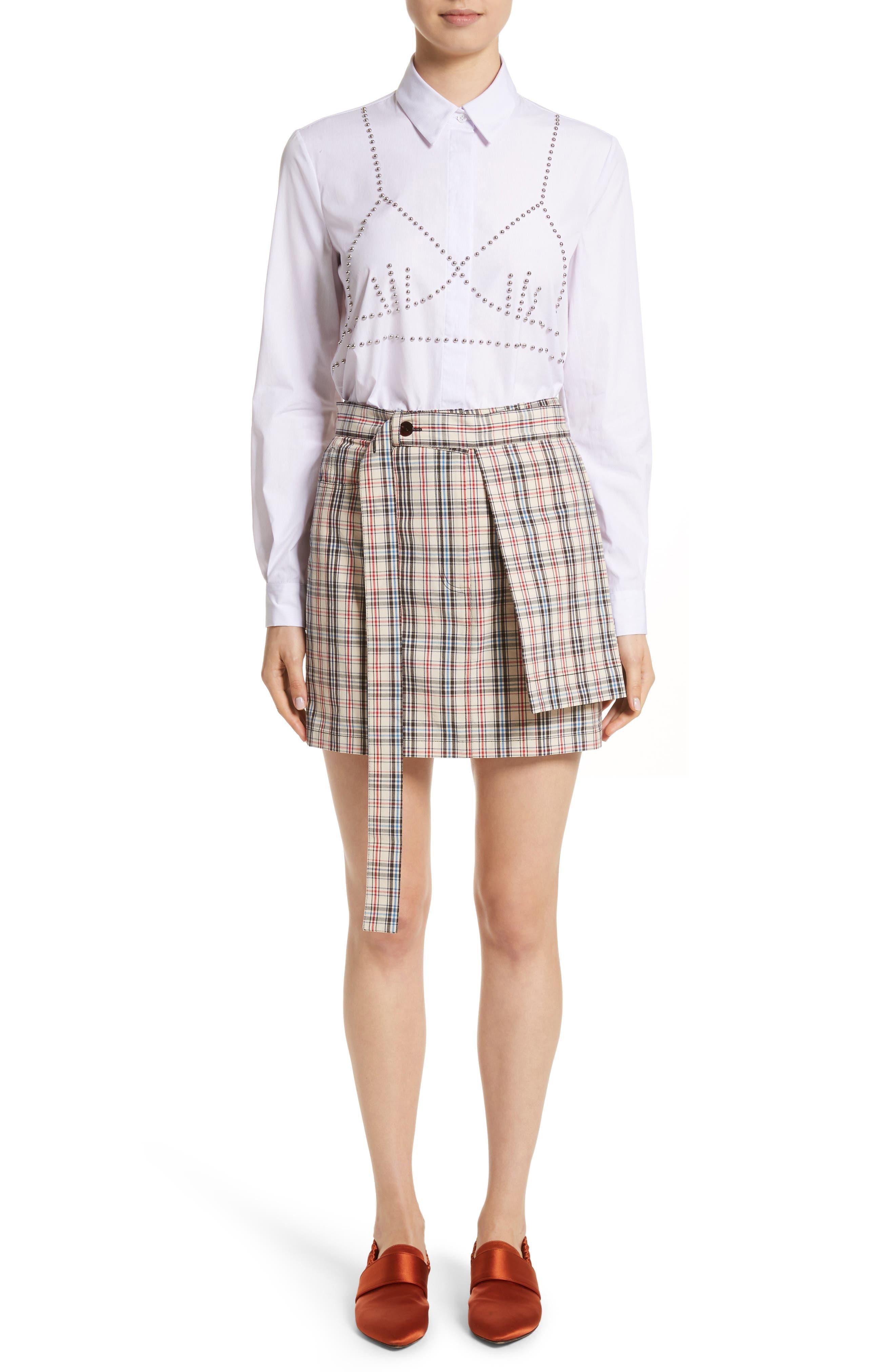 Classic Studded Bra Shirt,                             Alternate thumbnail 8, color,                             Lilac/ White
