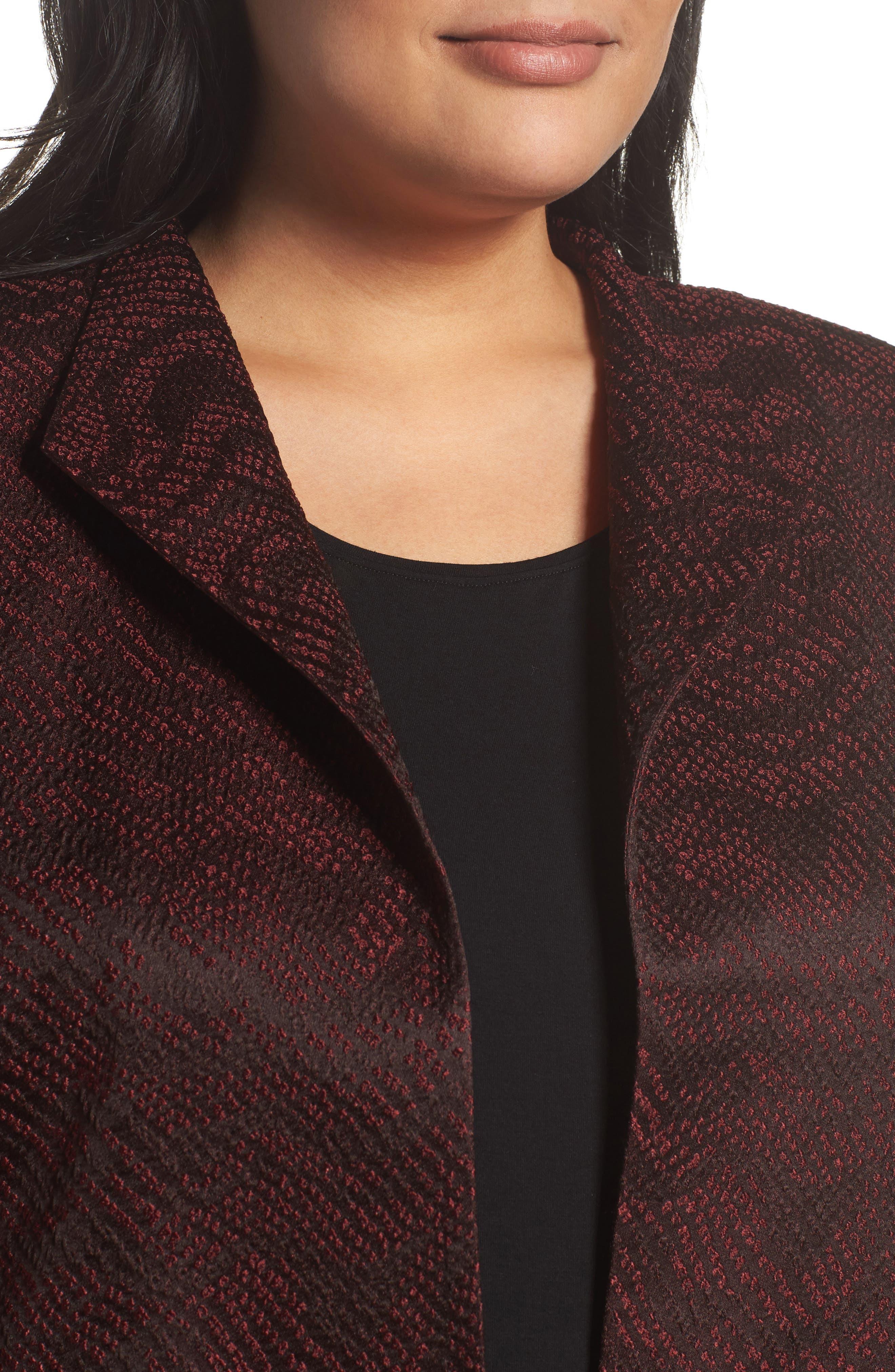 Alternate Image 4  - Eileen Fisher Silk Blend Jacquard Jacket (Plus Size)