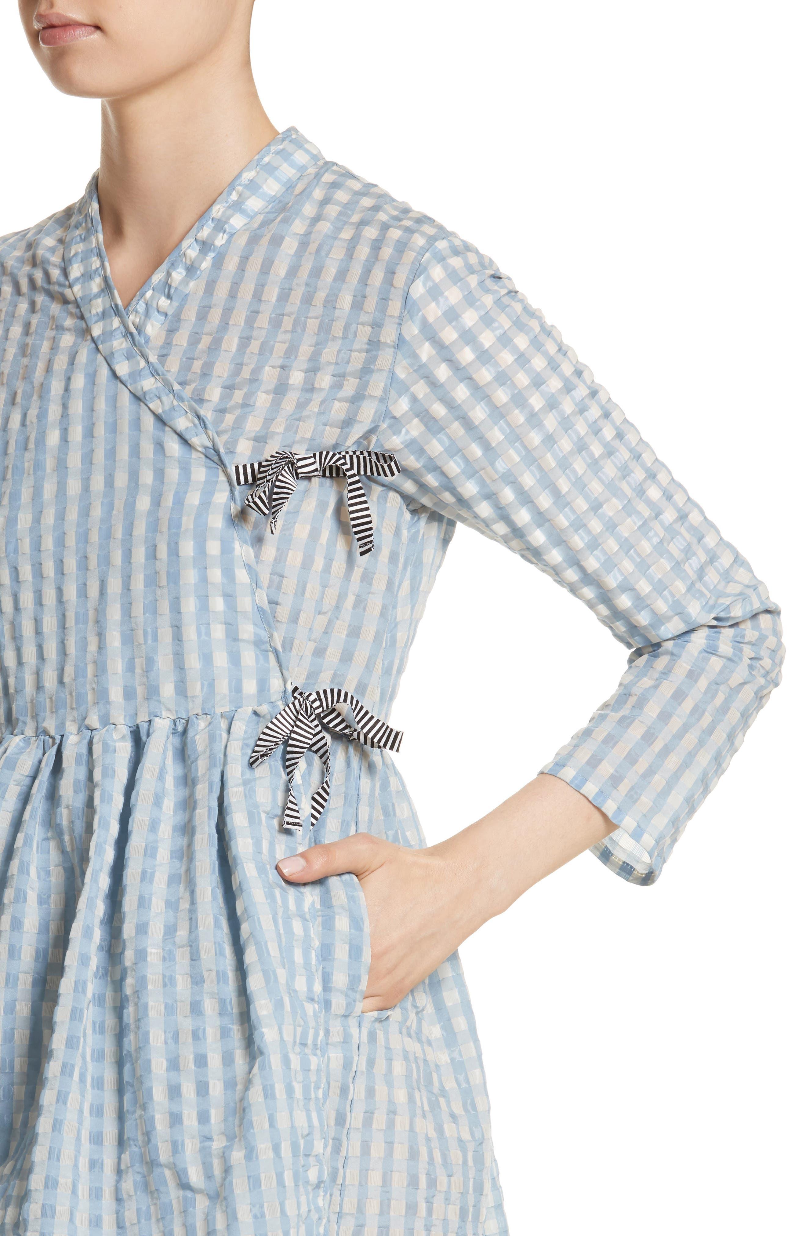 Hermione Gingham Seersucker Dress,                             Alternate thumbnail 4, color,                             Blue