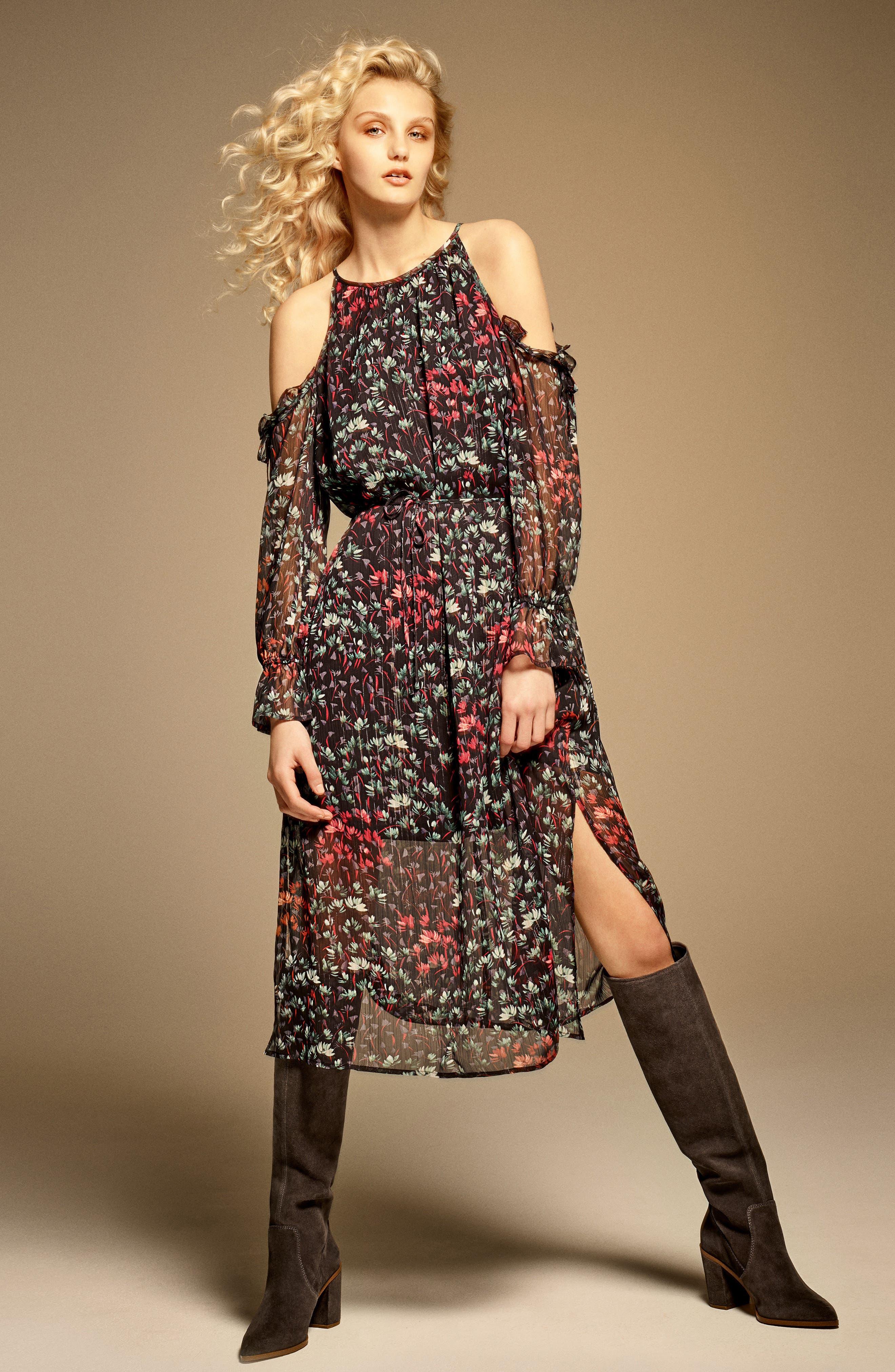 Cold Shoulder Midi Dress,                             Alternate thumbnail 2, color,                             Rich Black