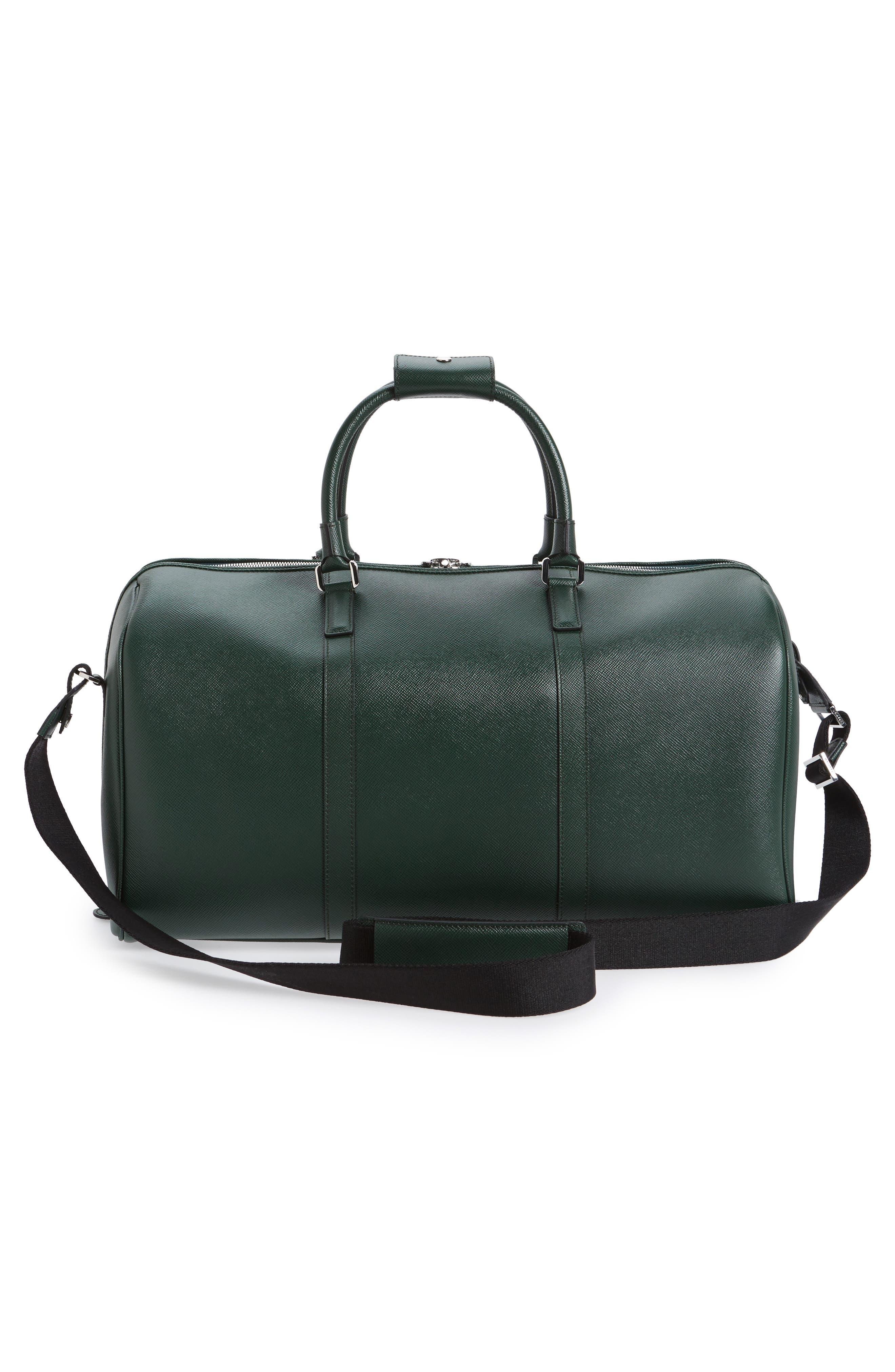 Small Evolution Leather Duffel Bag,                             Alternate thumbnail 3, color,                             Forest Green