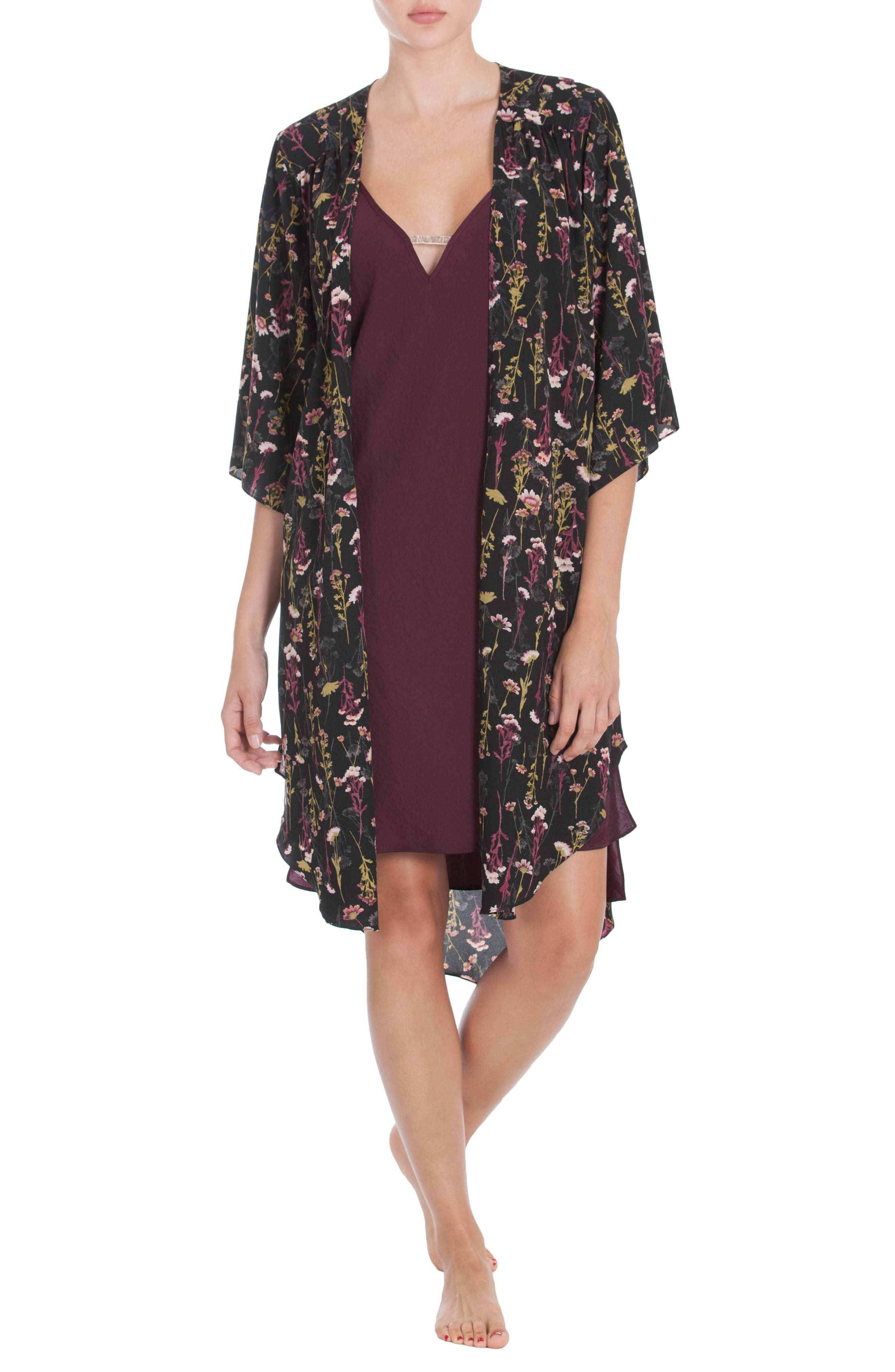 Satin Nightgown,                             Alternate thumbnail 6, color,                             Wine