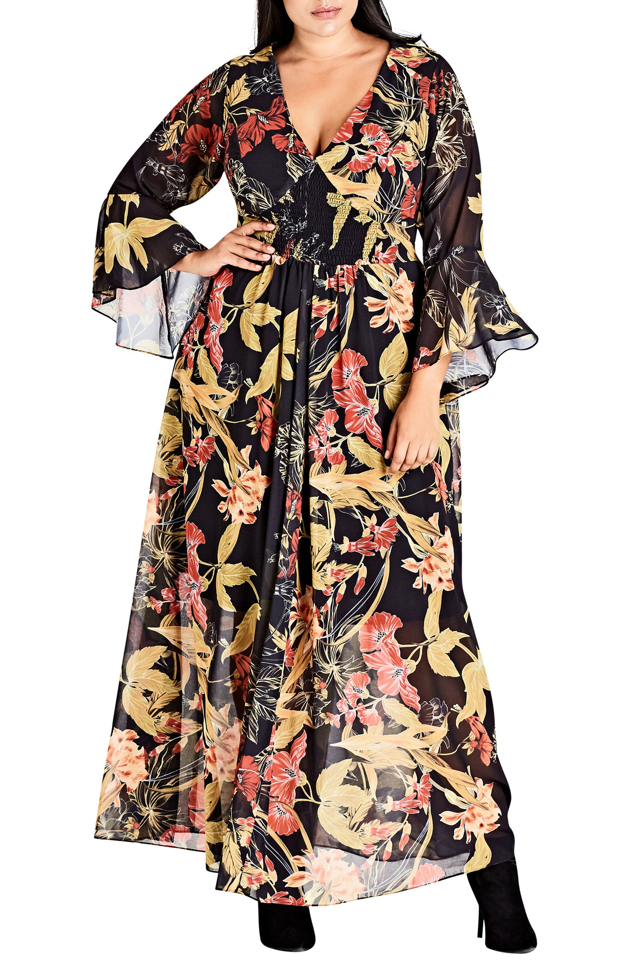 Main Image - City Chic Gold Floral Maxi Dress (Plus Size)