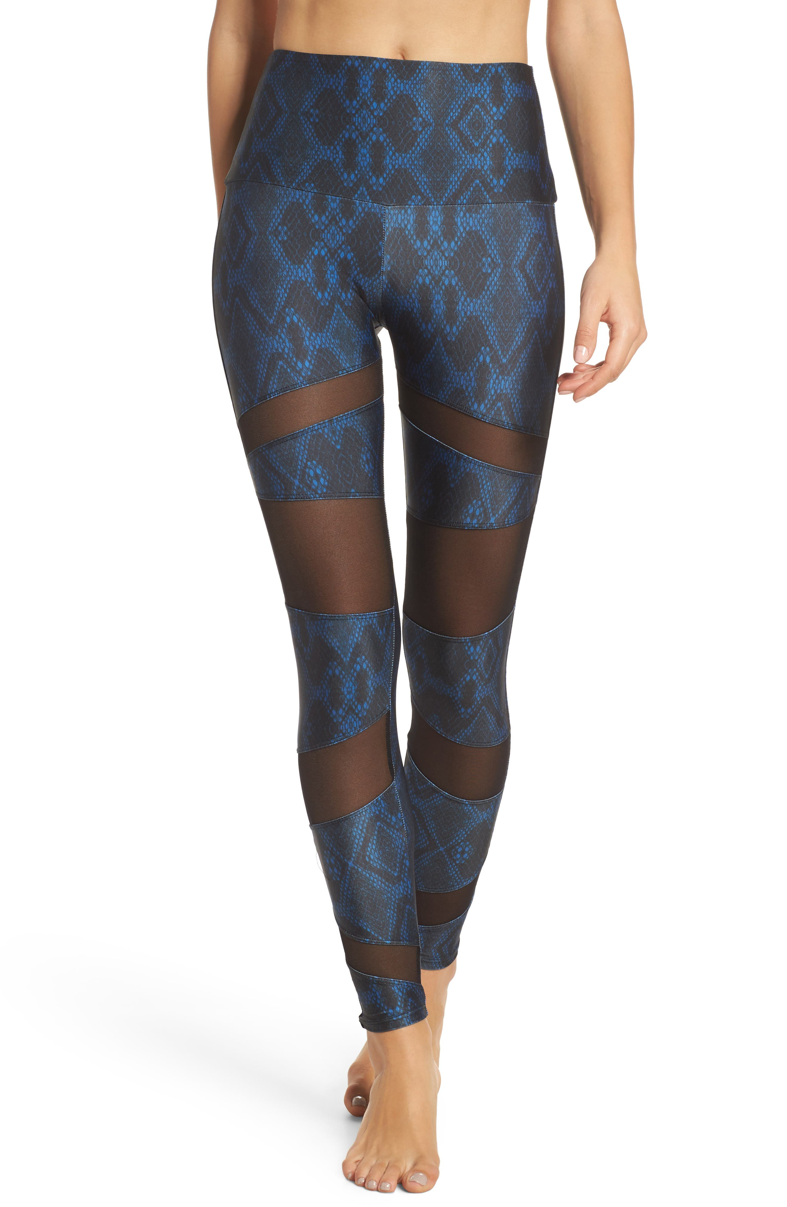 Mesh Inset Leggings,                         Main,                         color, Navy Python